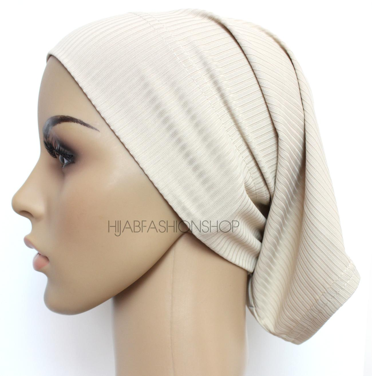 latte ribbed tube underscarf