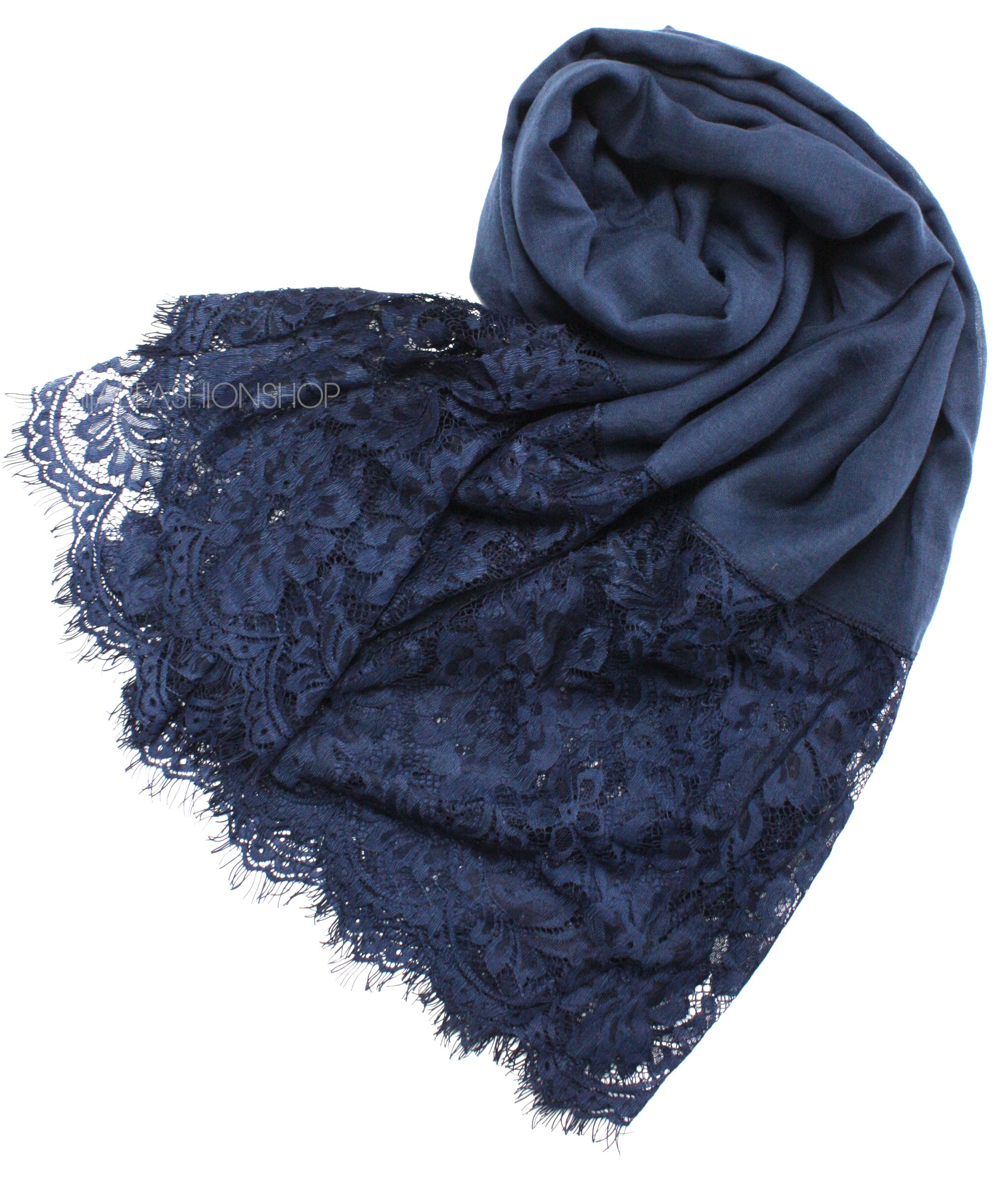 navy lace hijab