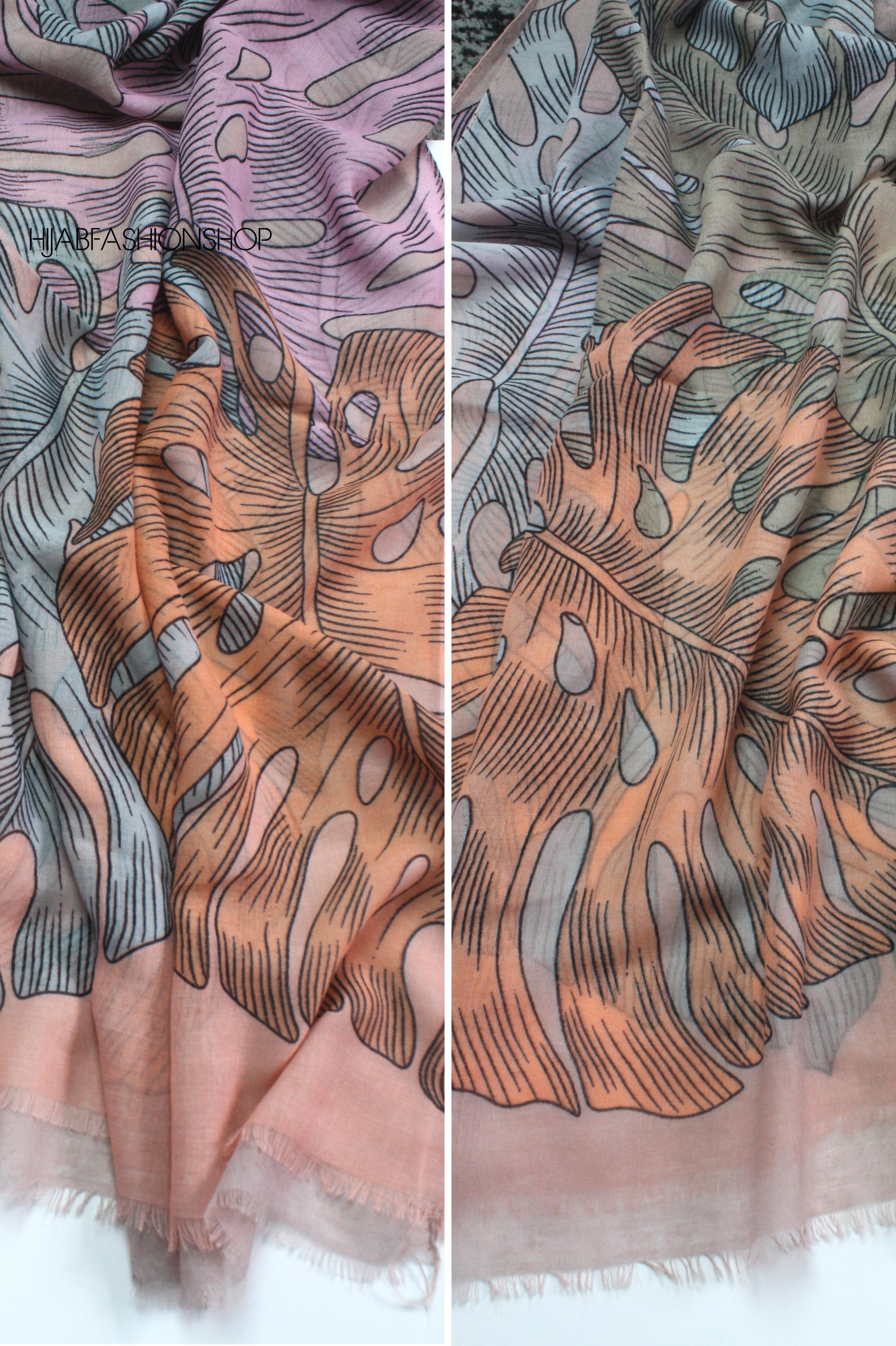 taupe mostera leaves print hijab