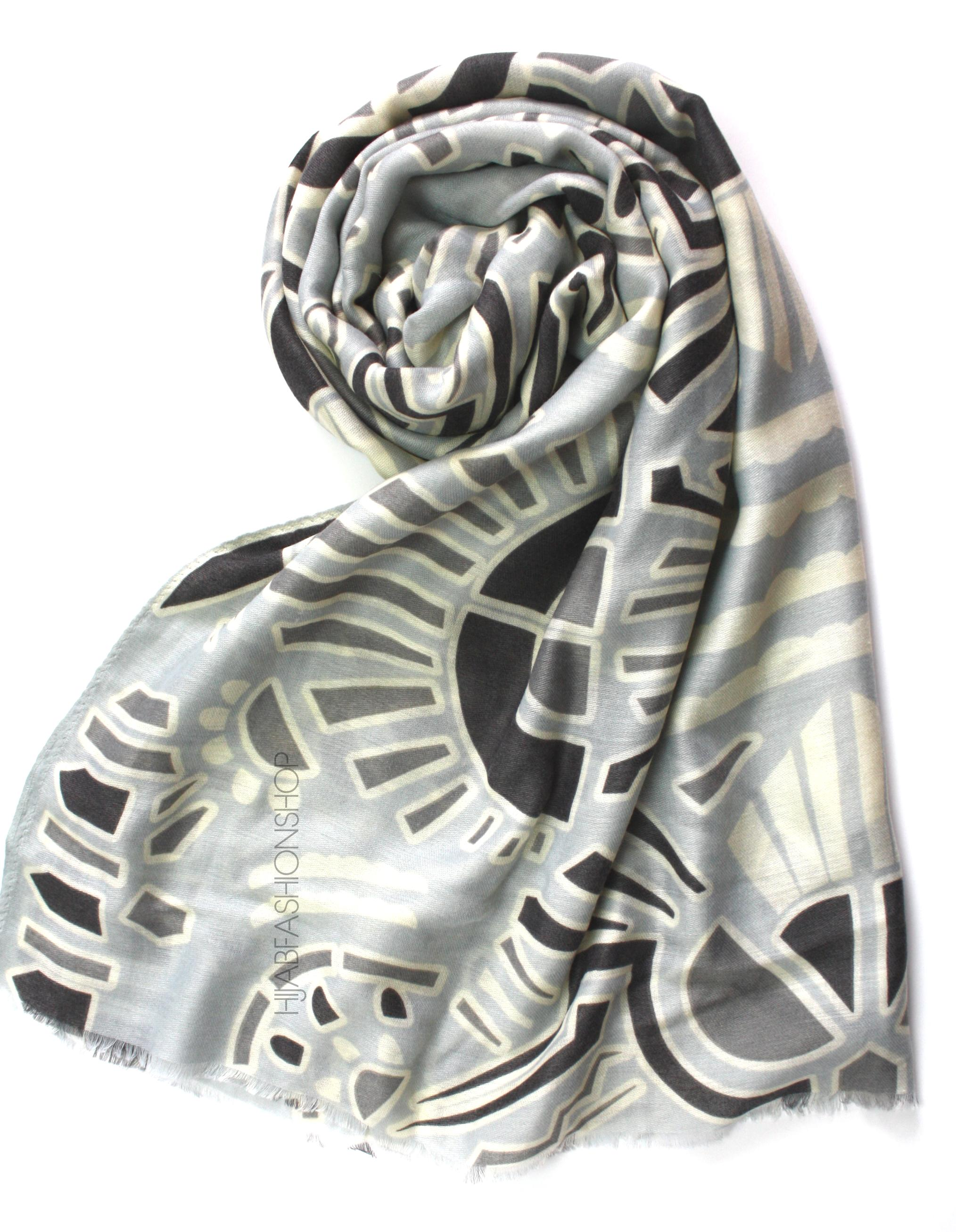 grey tribal print hijab