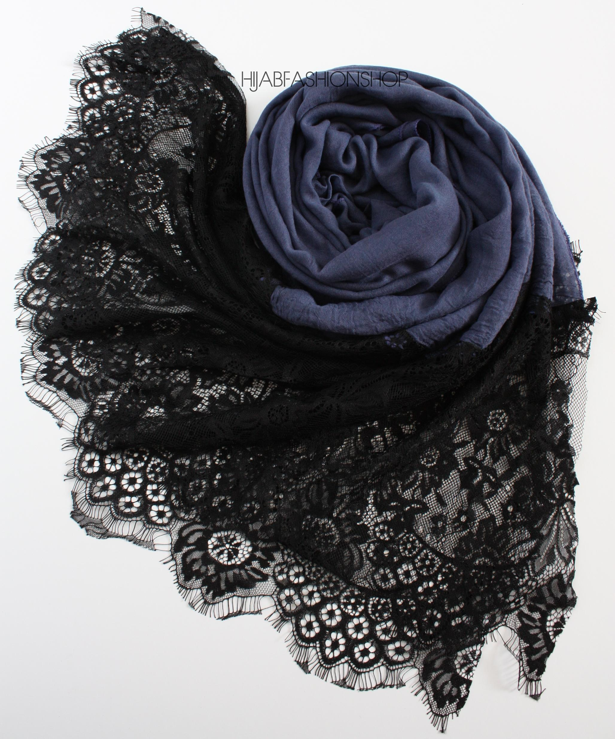 navy black lace hijab