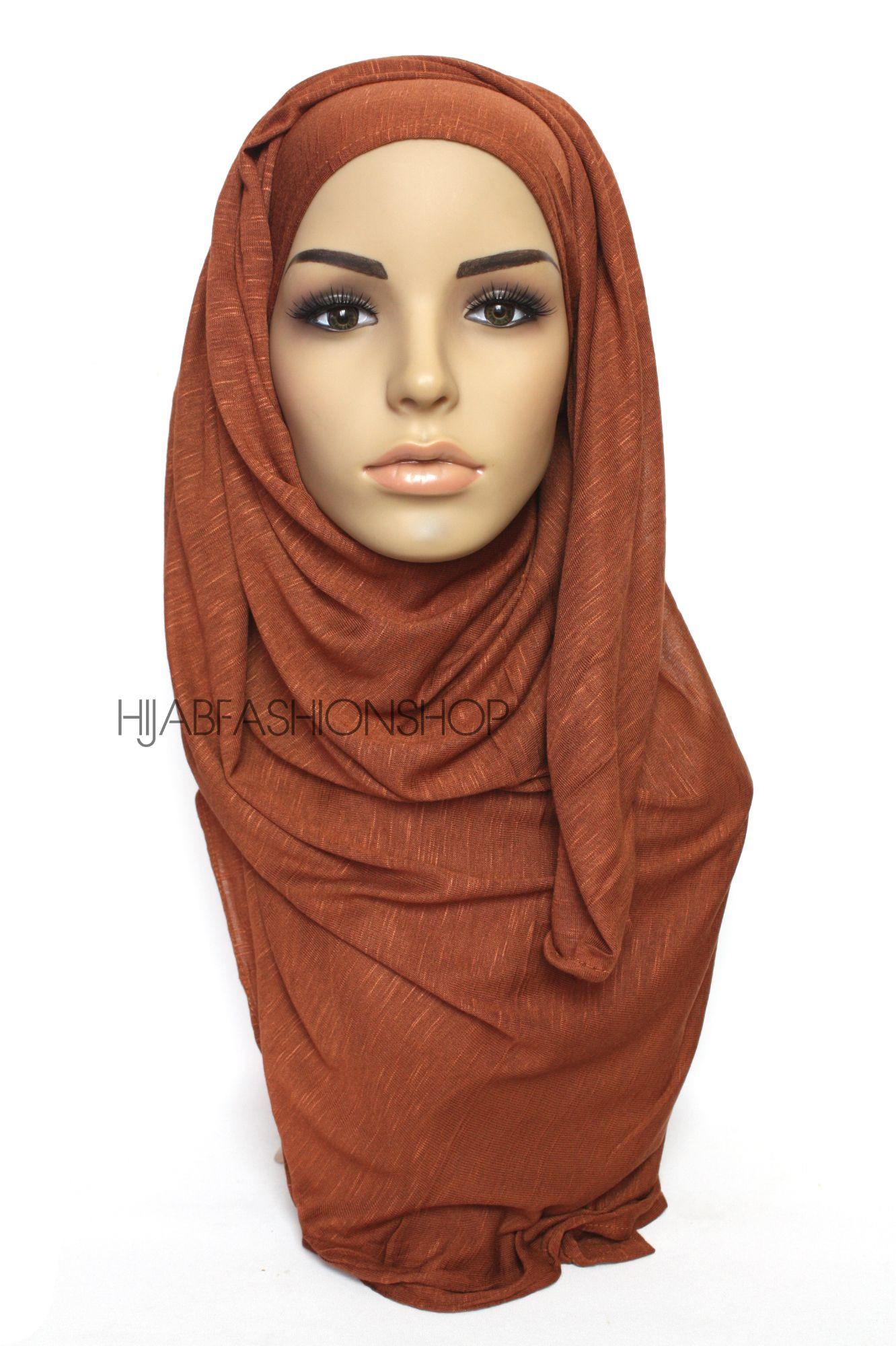 rusty brown slub jersey hijab