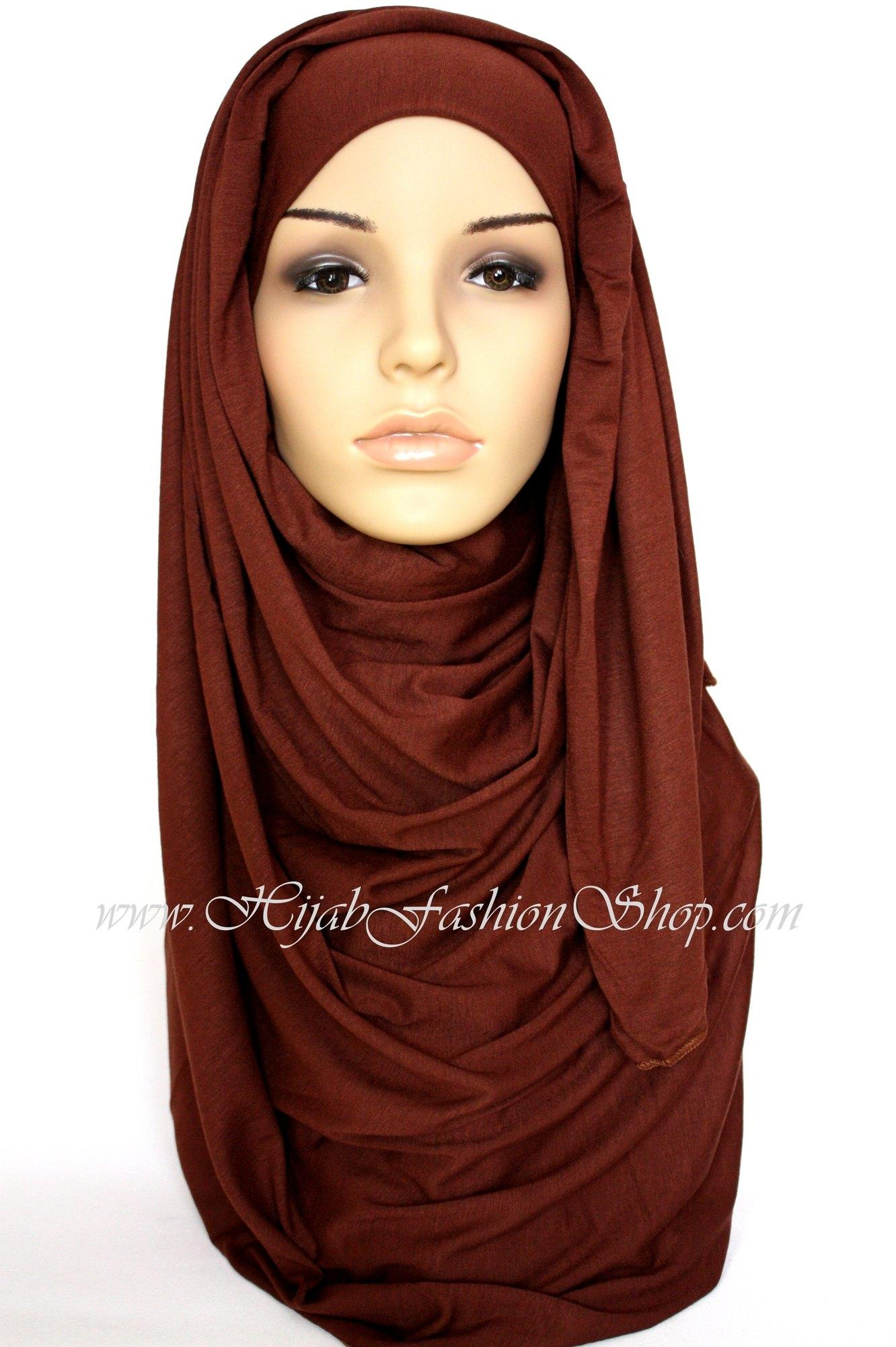 brown plain jersey hijab
