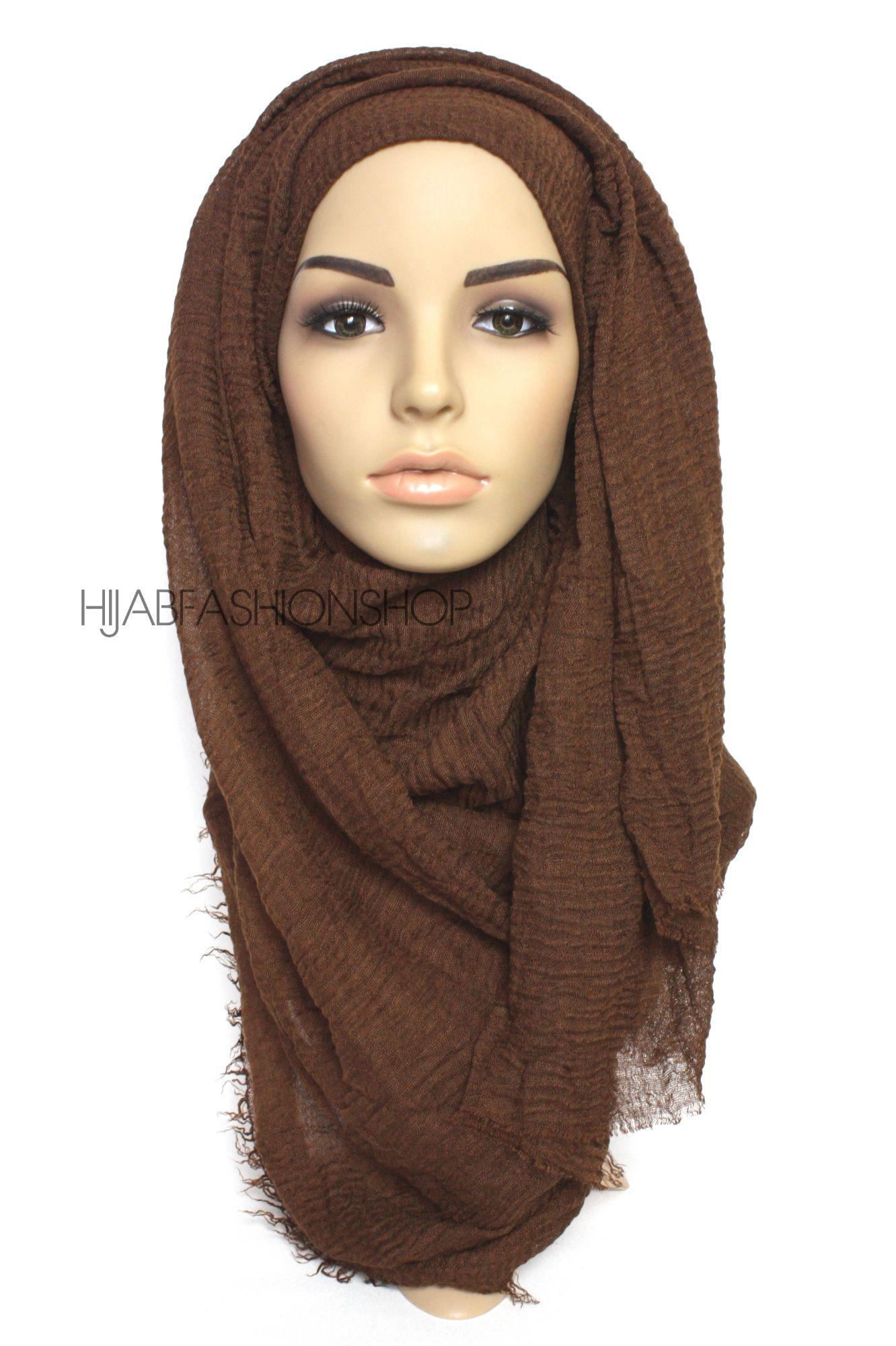 brown crimp crinkle hijab with frayed edges