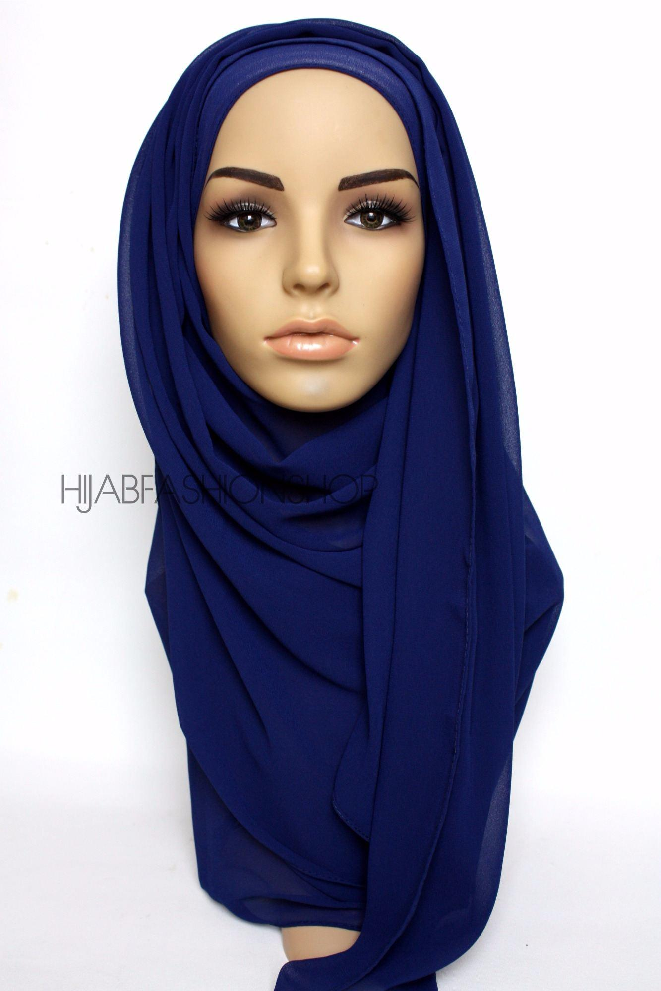 midnight blue crepe chiffon hijab