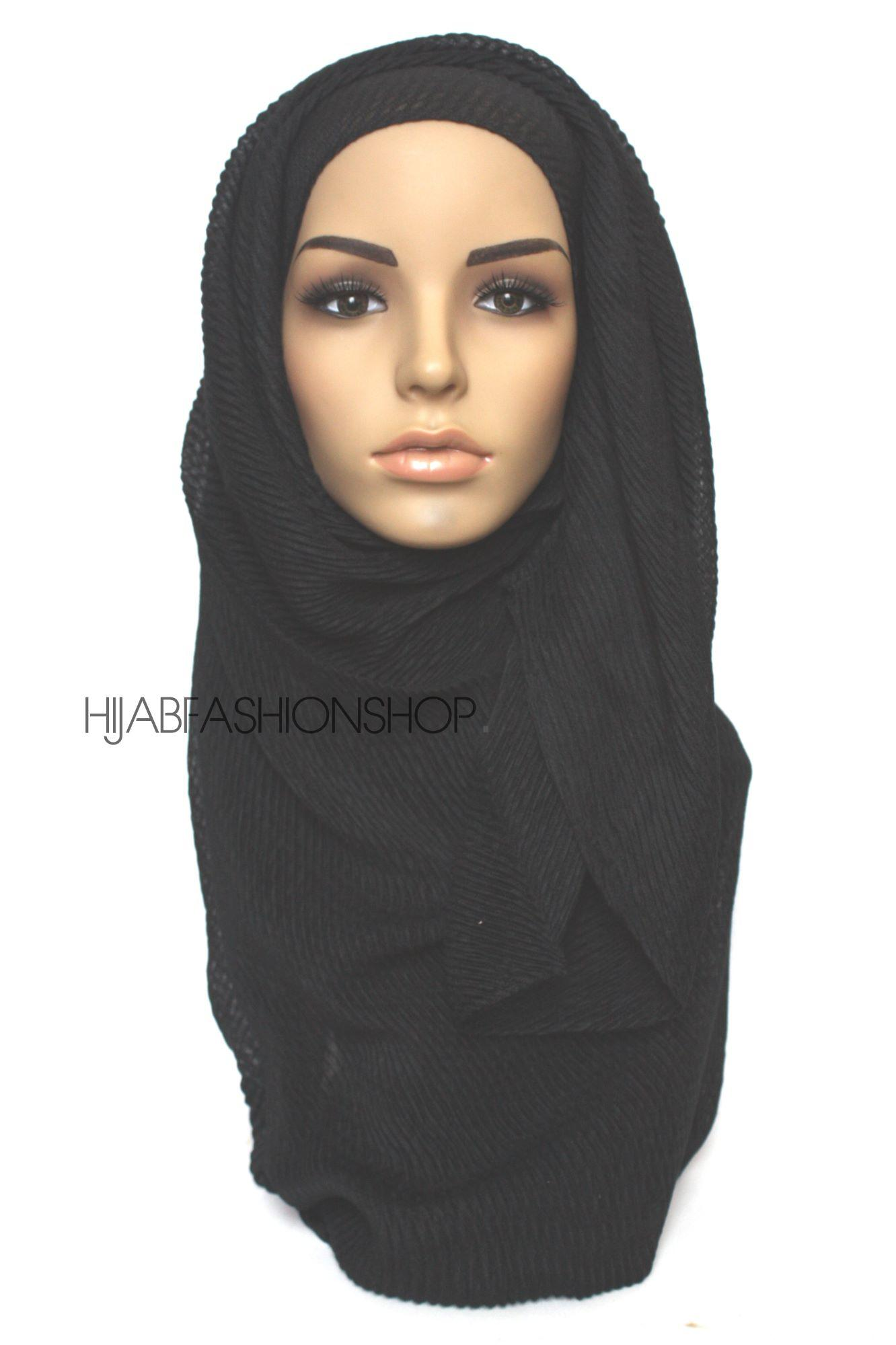 black pleated hijab
