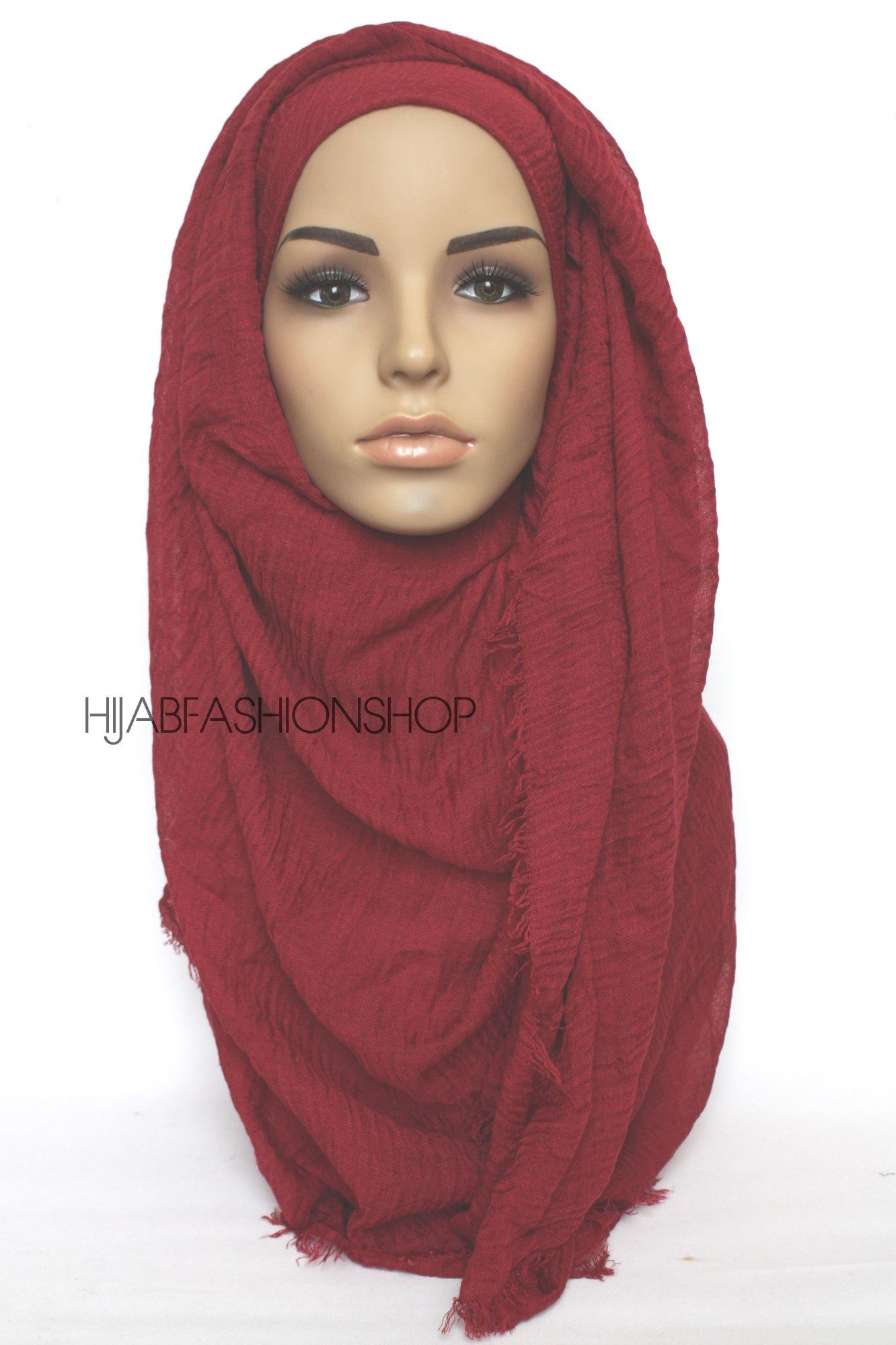 burgundy crimp crinkle hijab