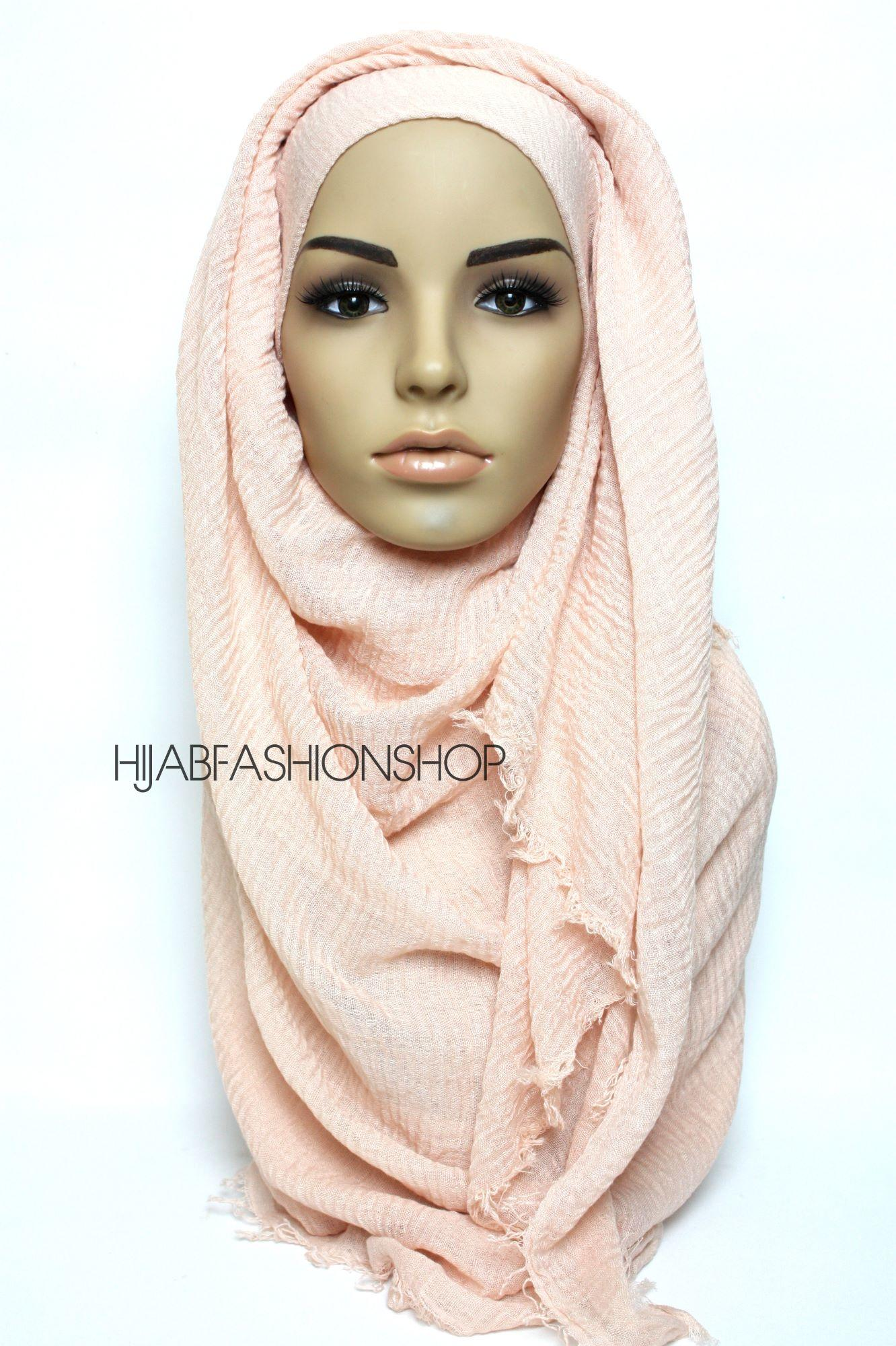 peachy pink crimp crinkle hijab