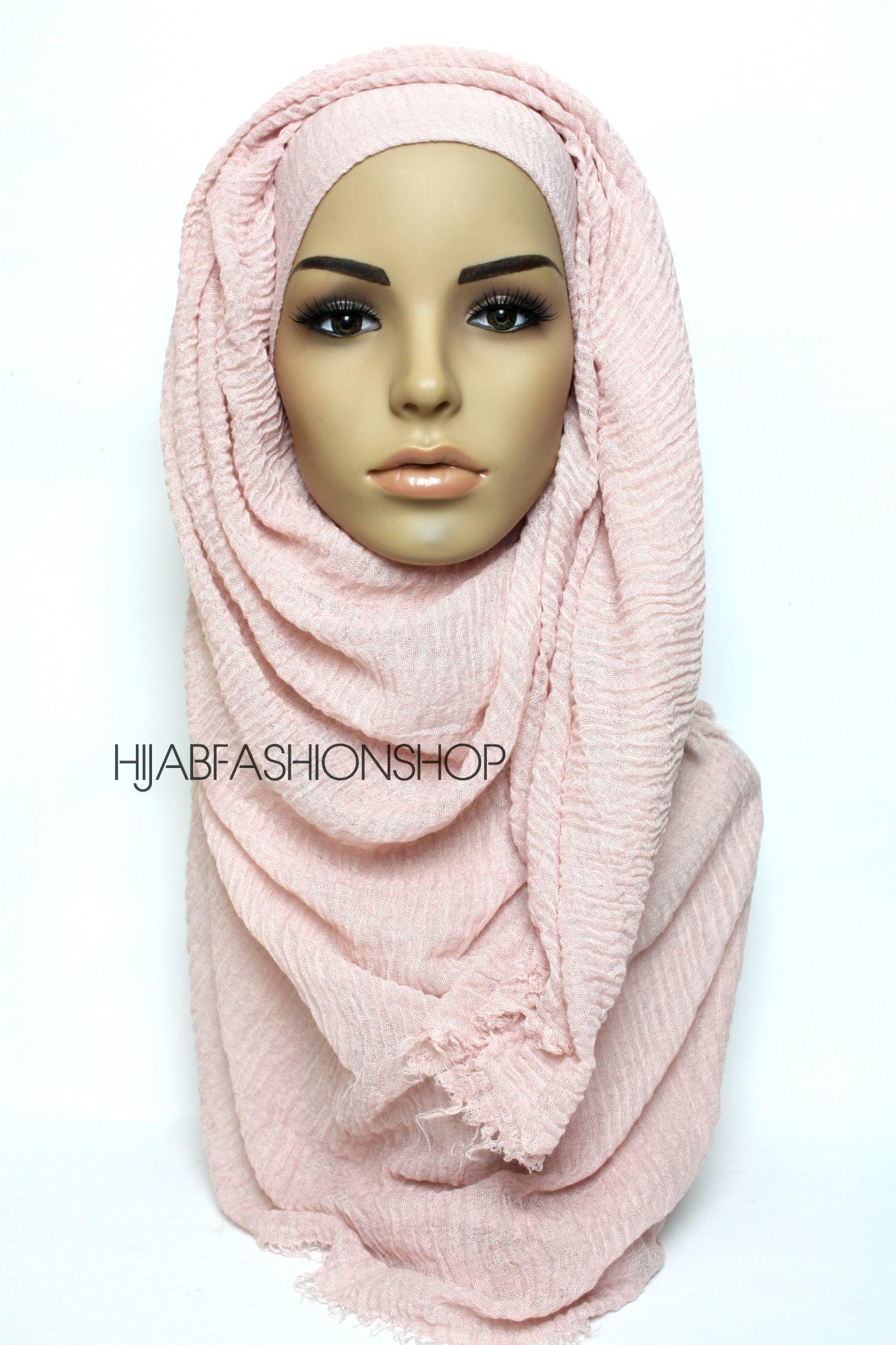 dusty pink crimp crinkle hijab