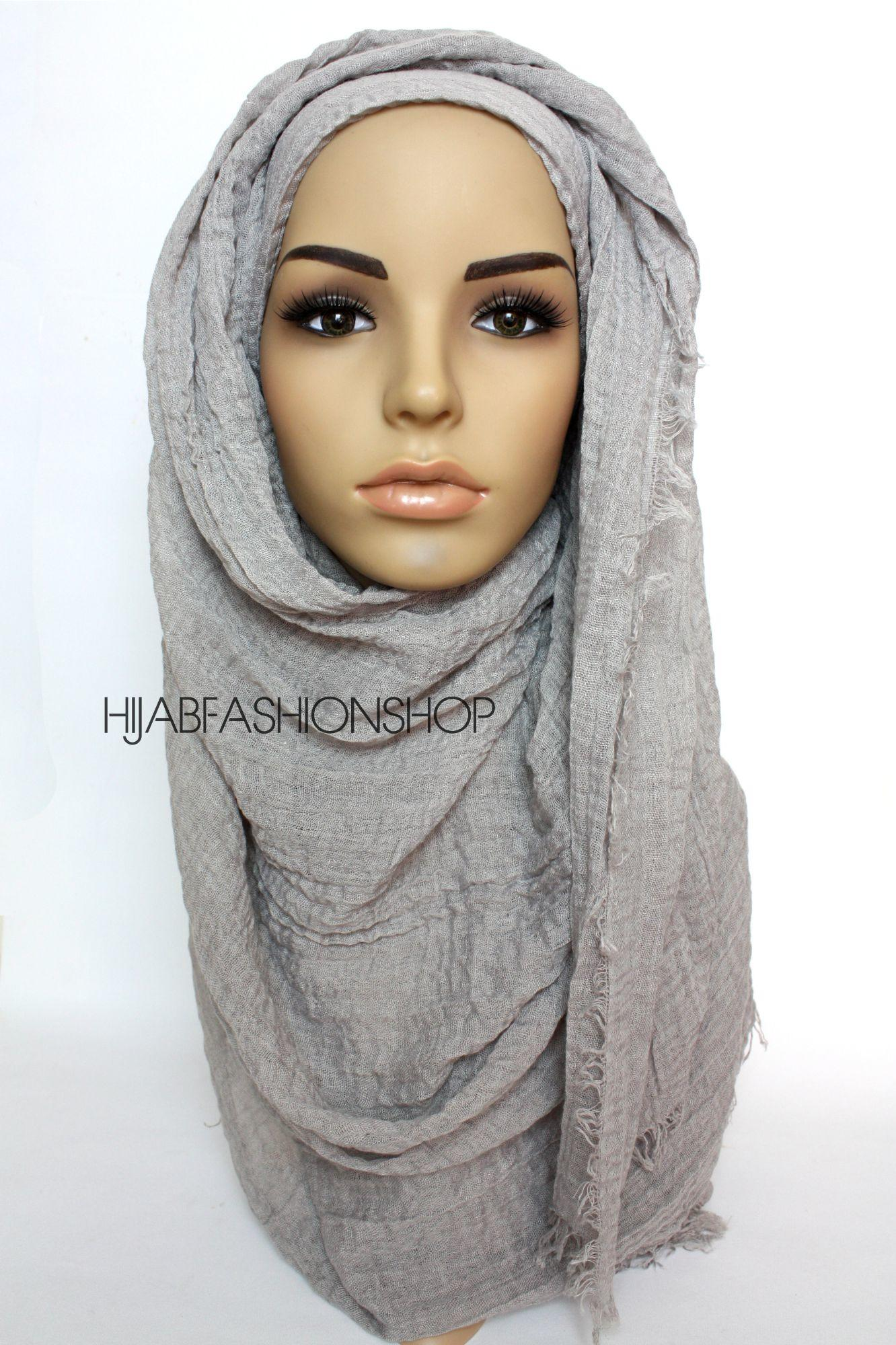 grey crimp crinkle hijab
