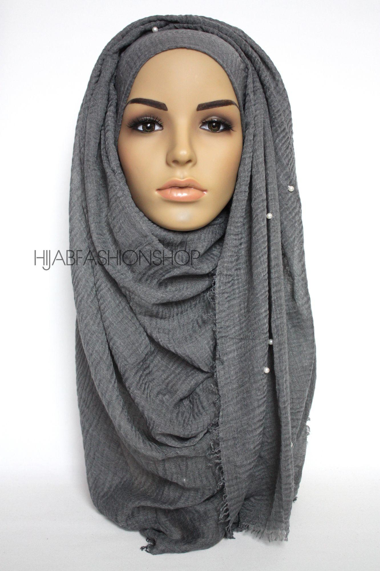 dark grey crimp crinkle hijab with pearls