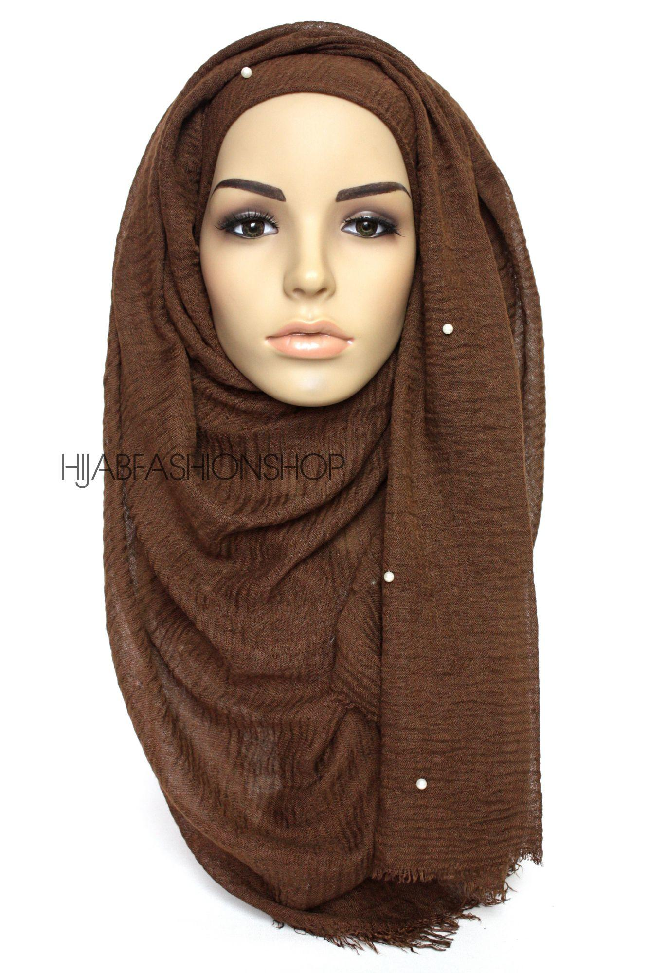 brown crimp crinkle hijab with pearls