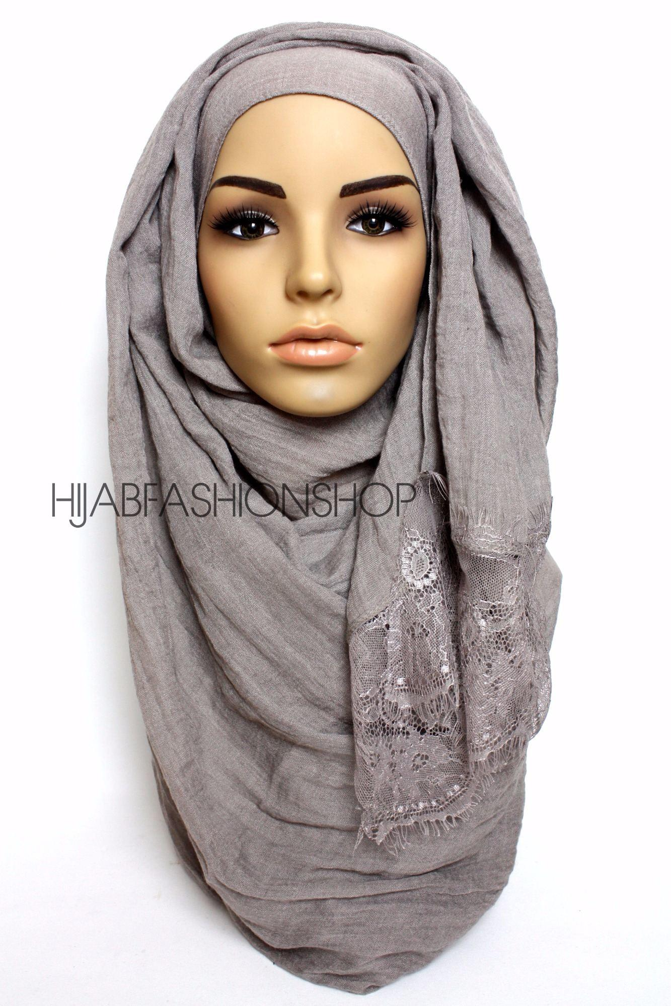 mink grey plain hijab with lace egdes