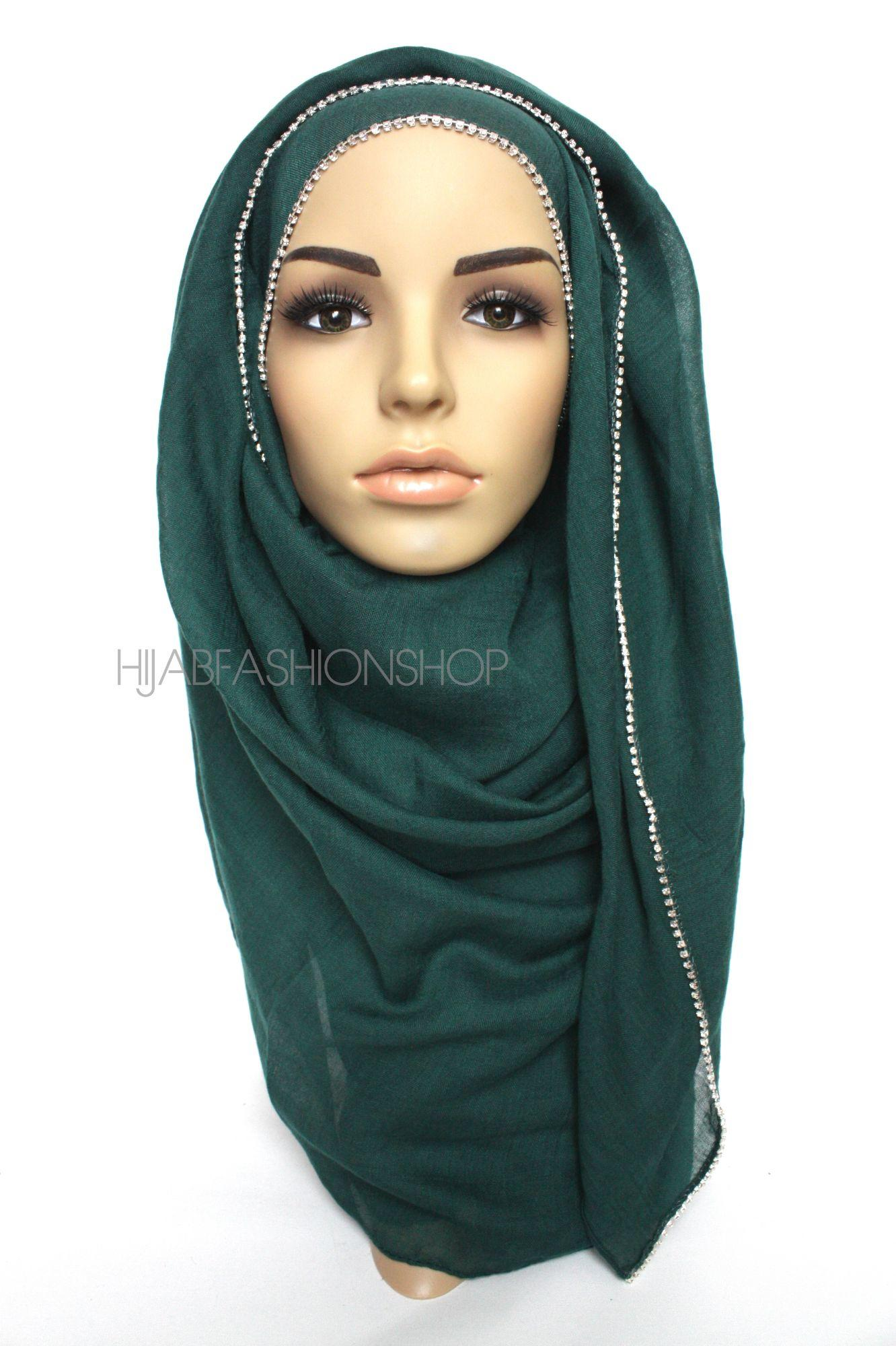 dark green plain hijab with clear crystal line on one longer edge
