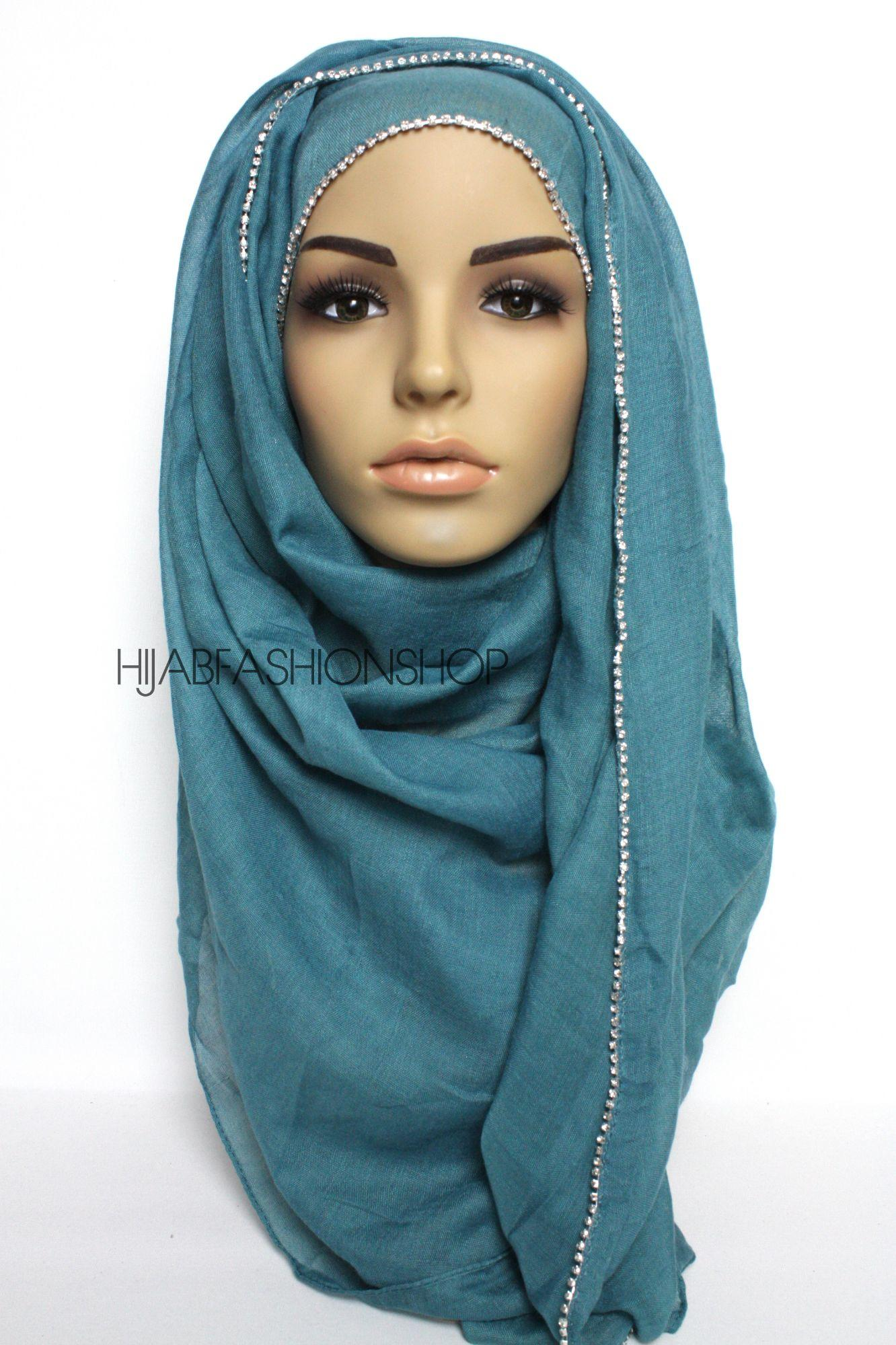 light teal plain hijab with clear crystal line on one longer edge