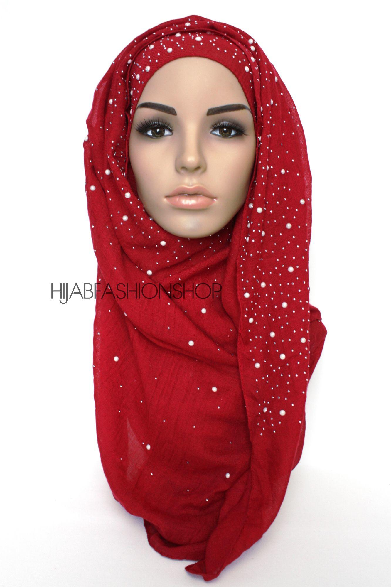 deep red hijab with silver studs and pearls