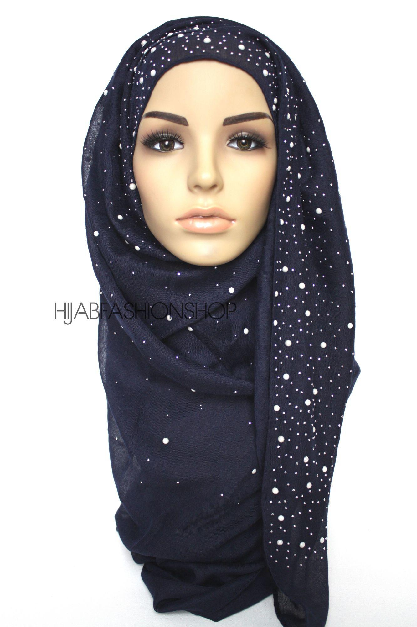navy hijab with silver studs and pearls