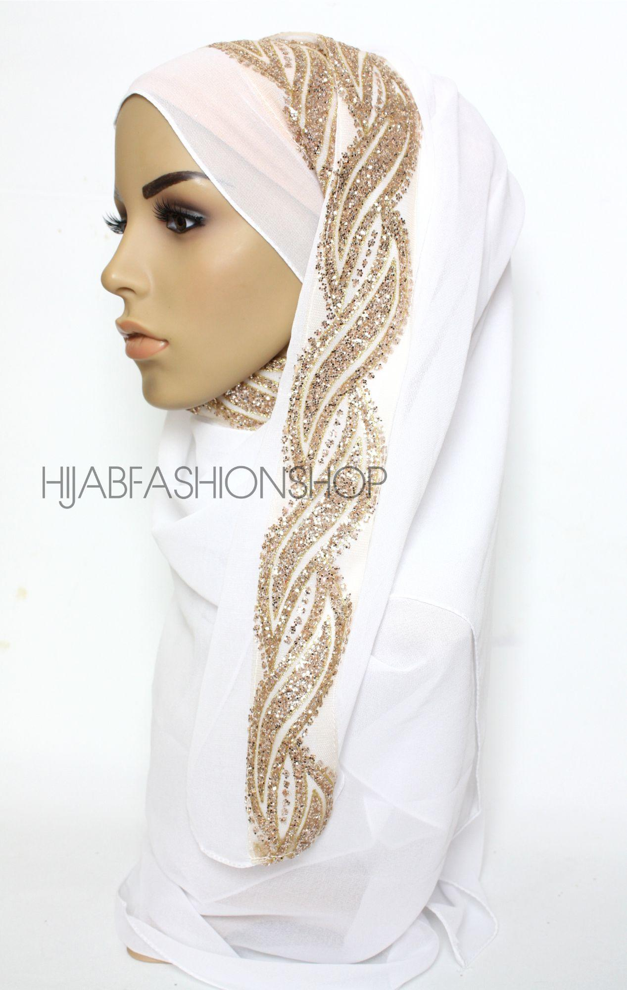 white chiffon hijab with glitter line on one side