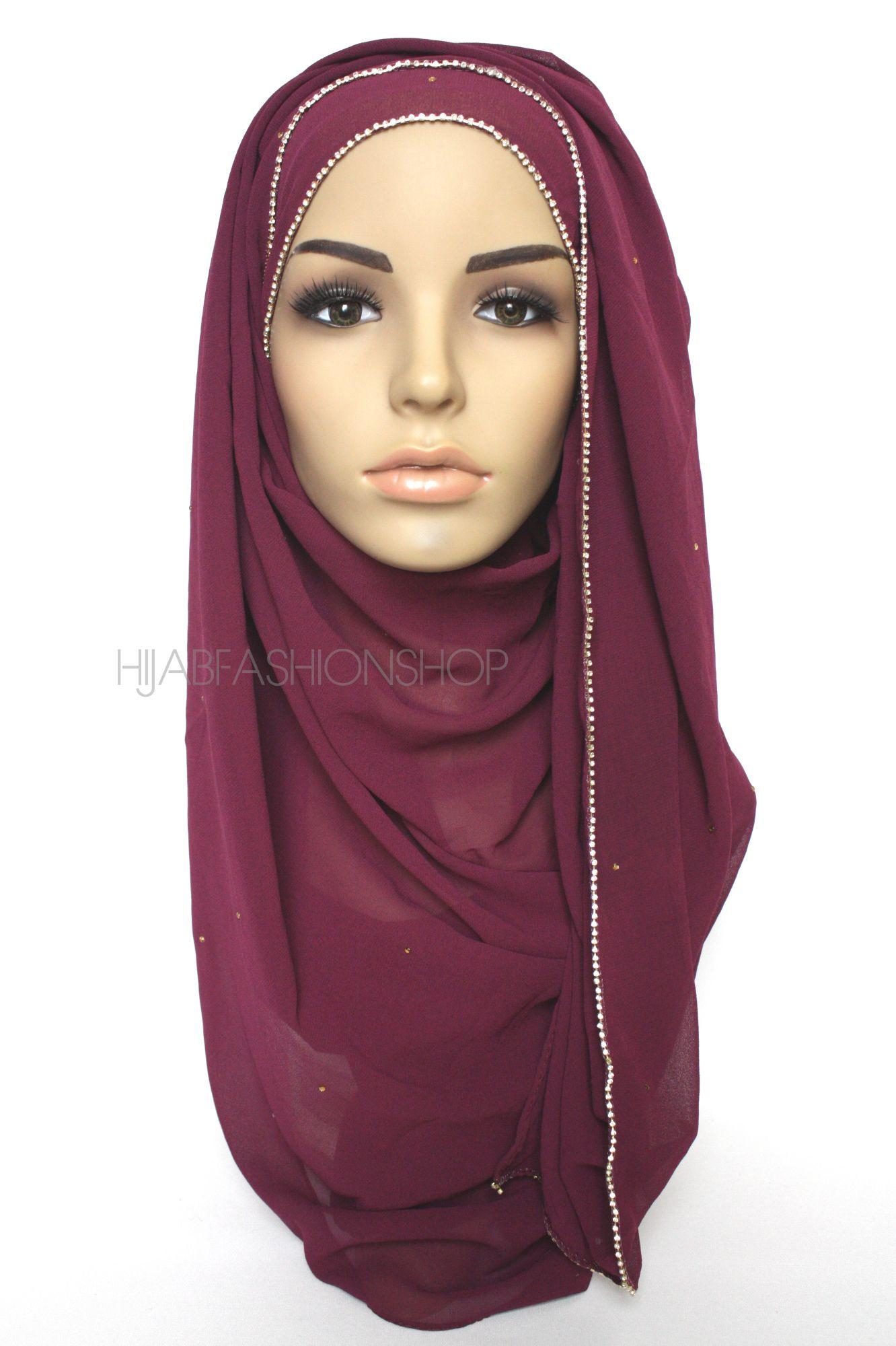 berry smoothie chiffon hijab with clear crystal line on longer edge