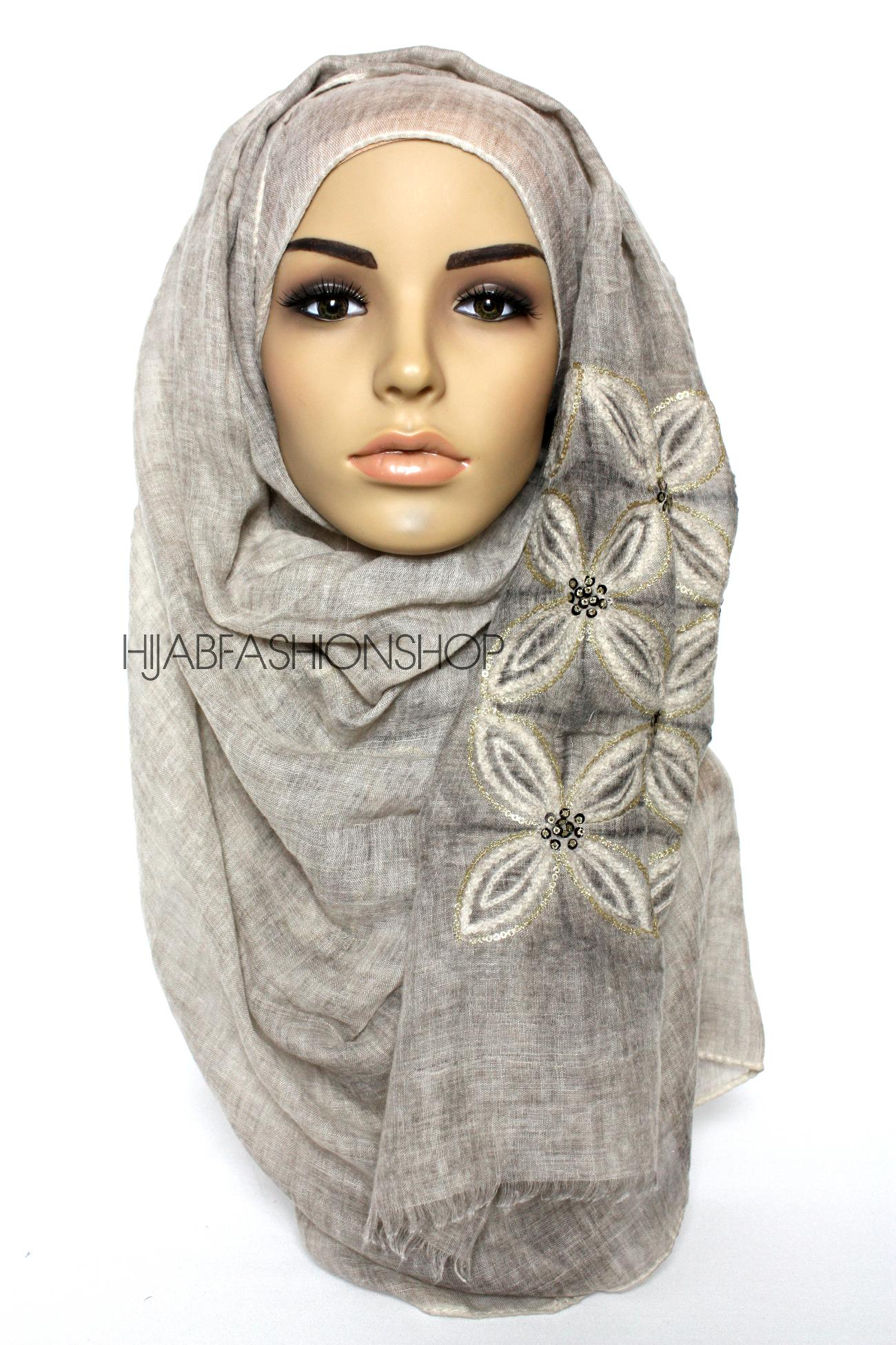 taupe linen look hijab with lilies embroidery and sequins