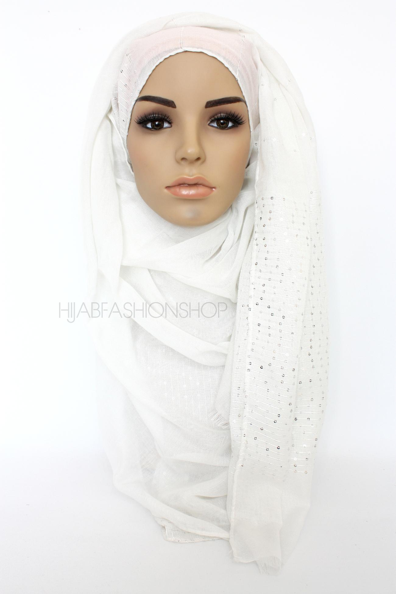 ivory hijab with silver sequins on shorter edges