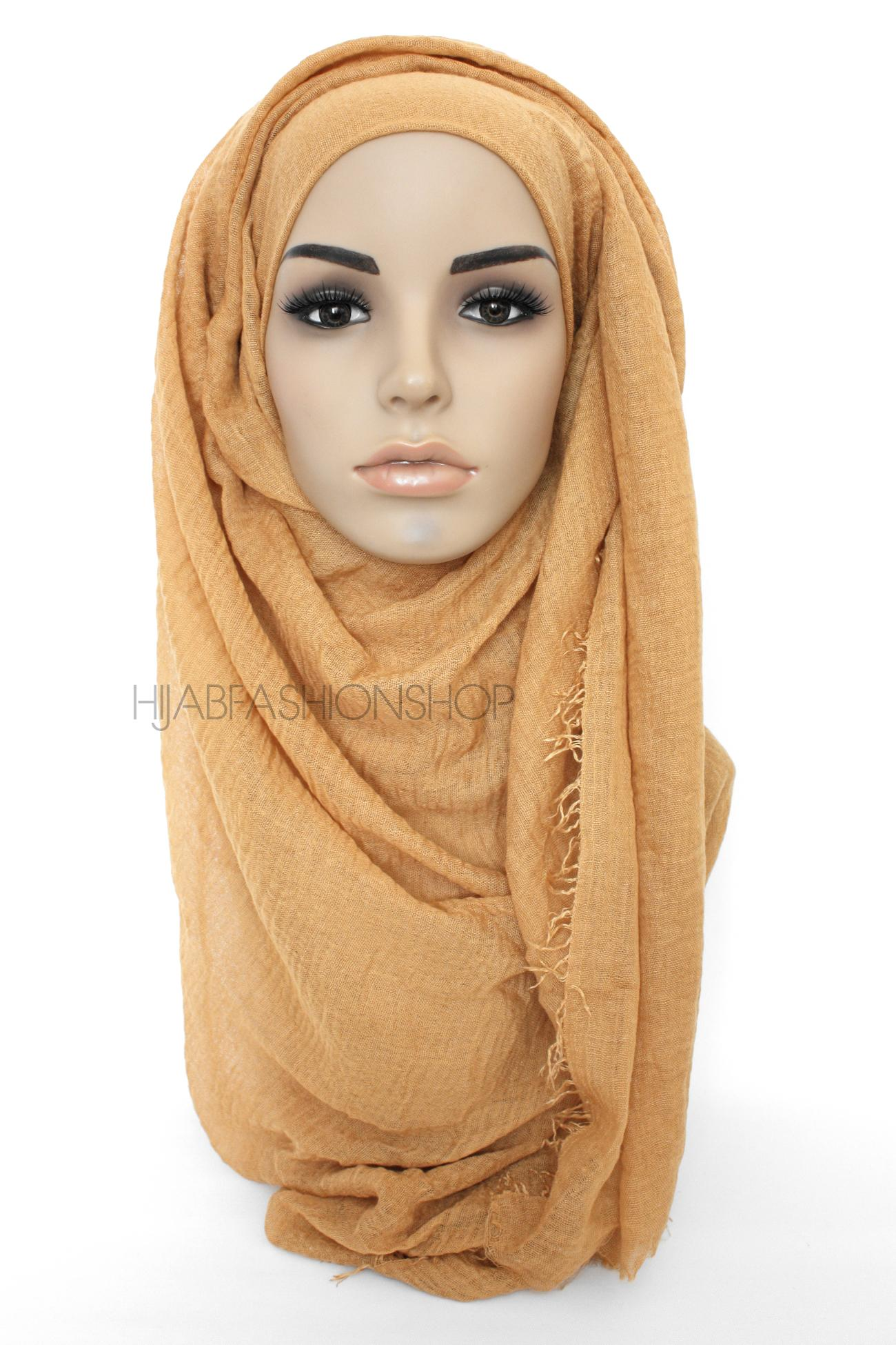 camel colour crimp crinkle hijab