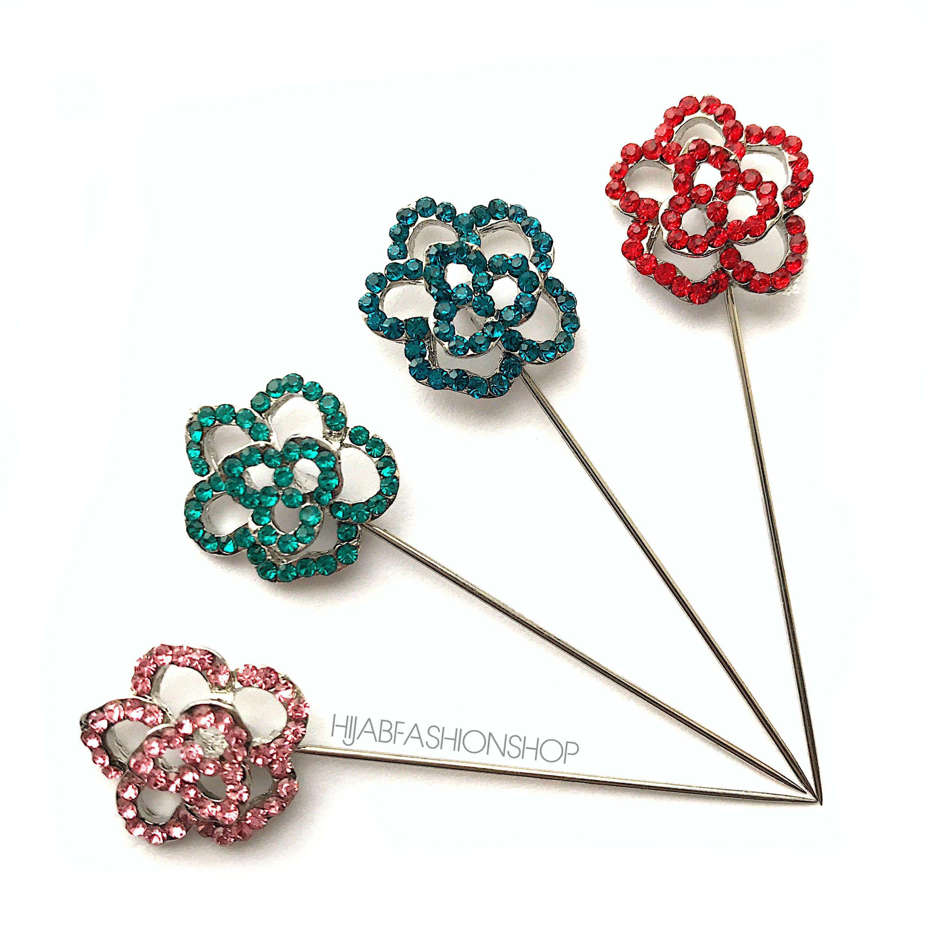 4 hijab stick pins with crystal rose design in variety of colours