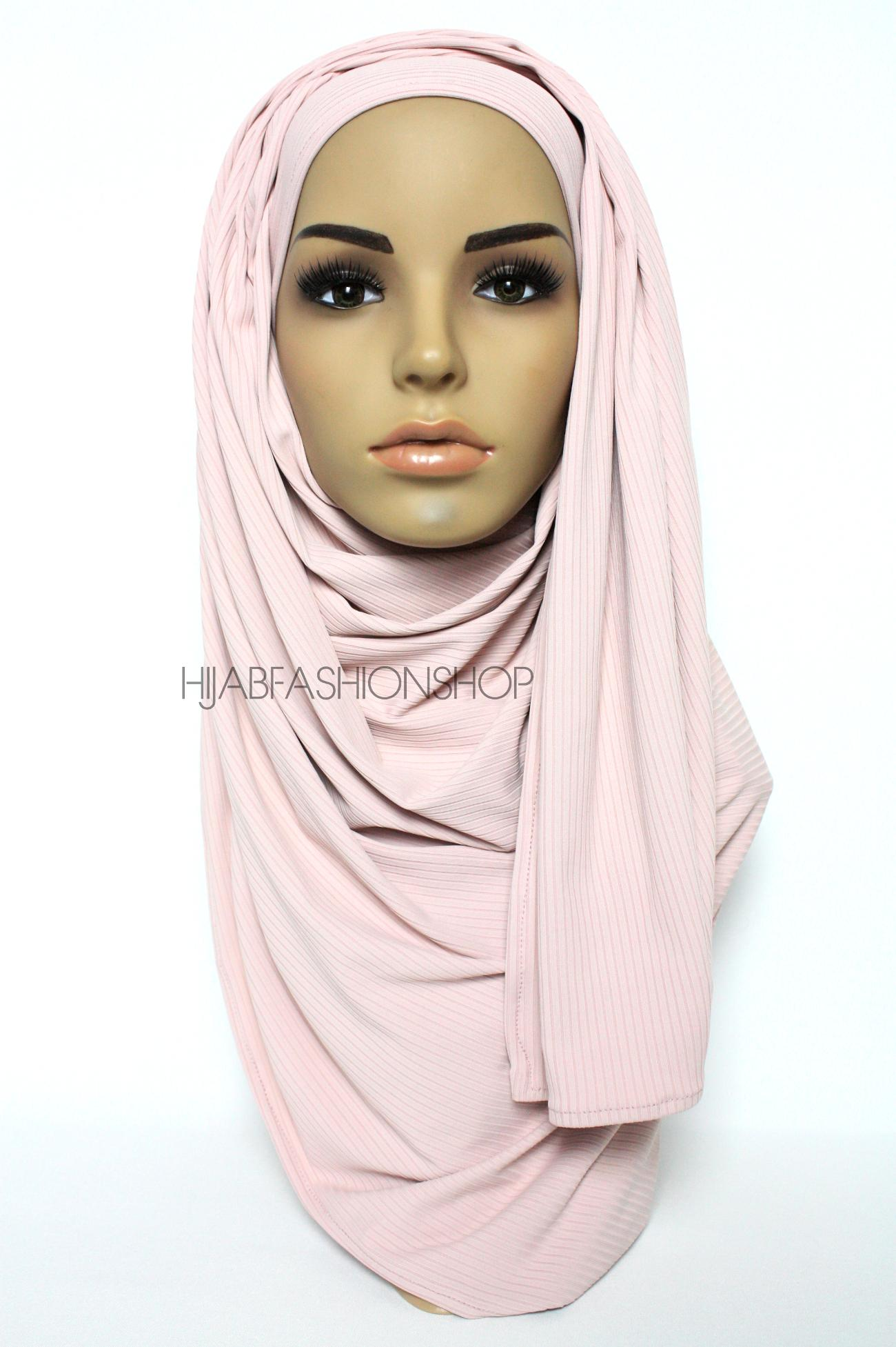 pale pink ribbed jersey hijab