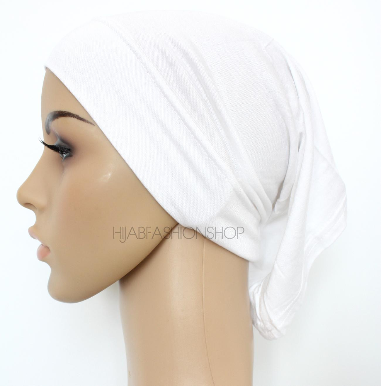 white tube hijab cap