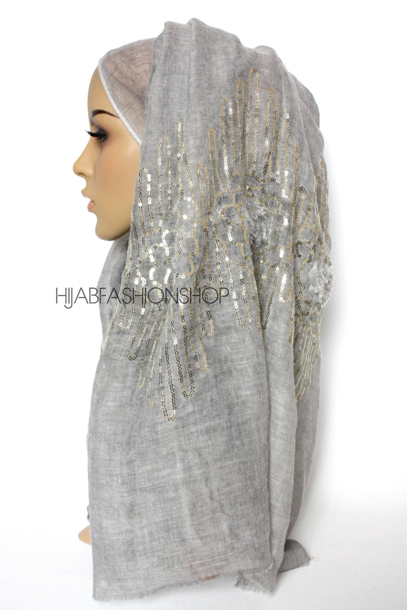 grey linen look hijab with frayed flower detail and gold sequins side view
