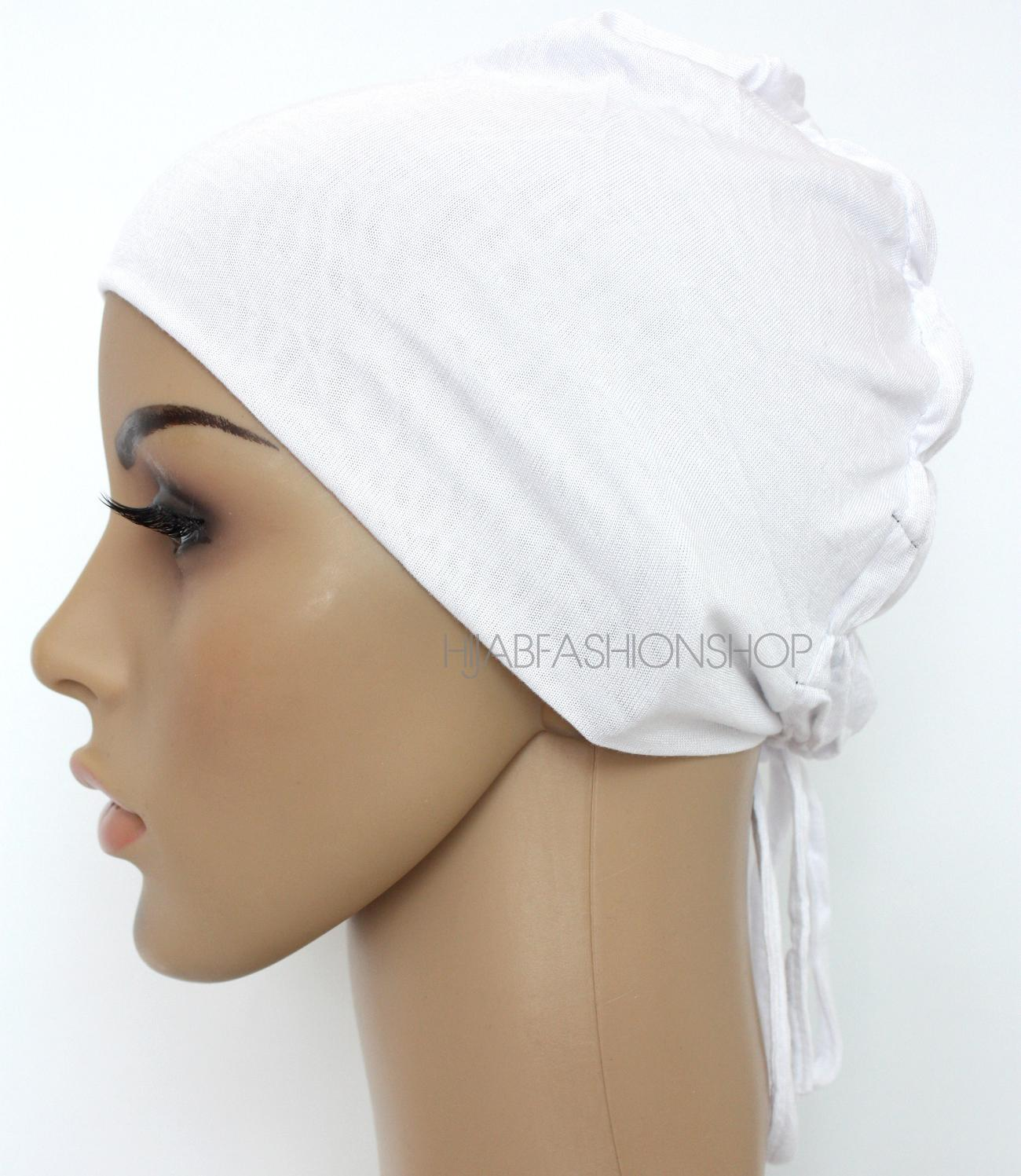 white ruched back string bonnet