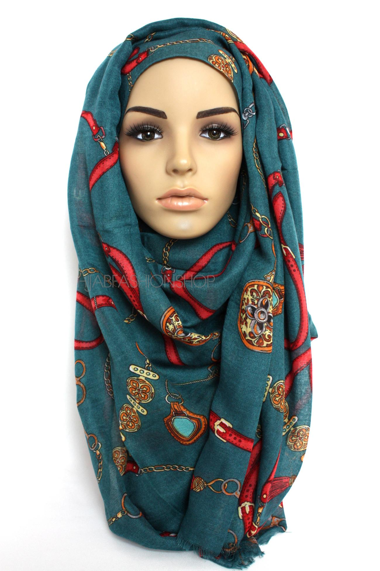 teal hijab with belt and chain print