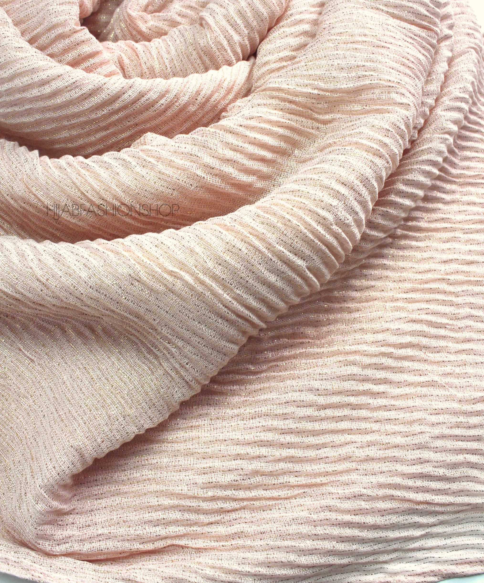 lurex peachy pink pleated hijab