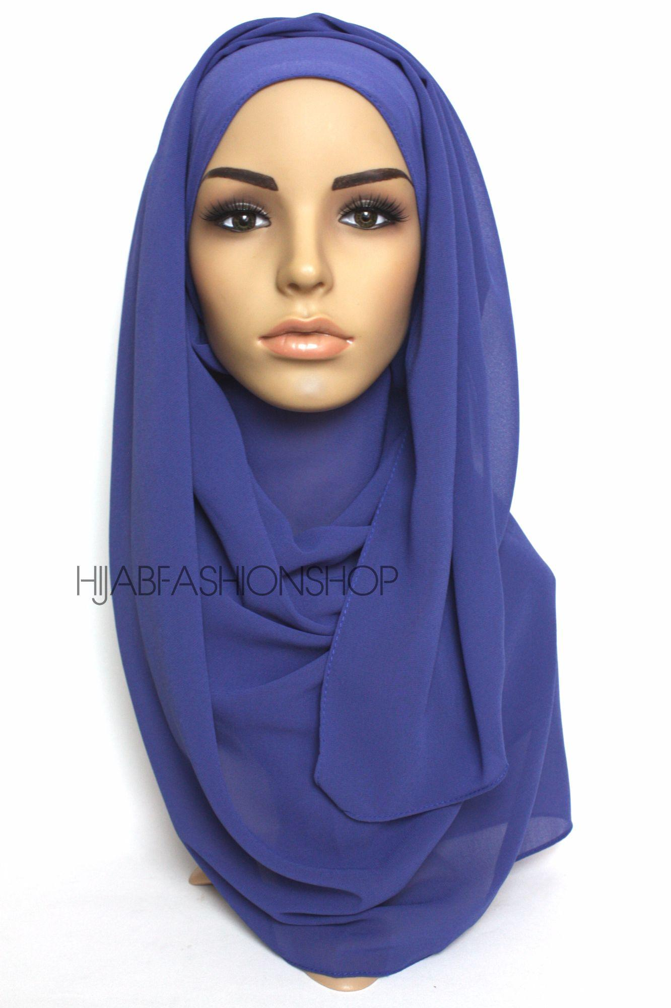 royal blue crepe chiffon hijab