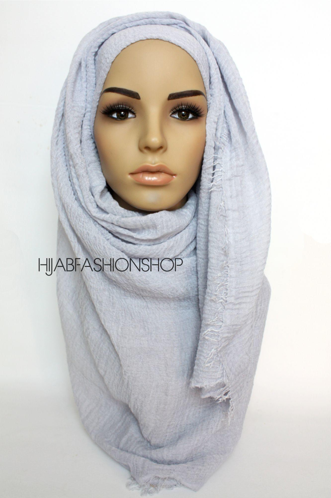 cool grey crimp crinkle hijab