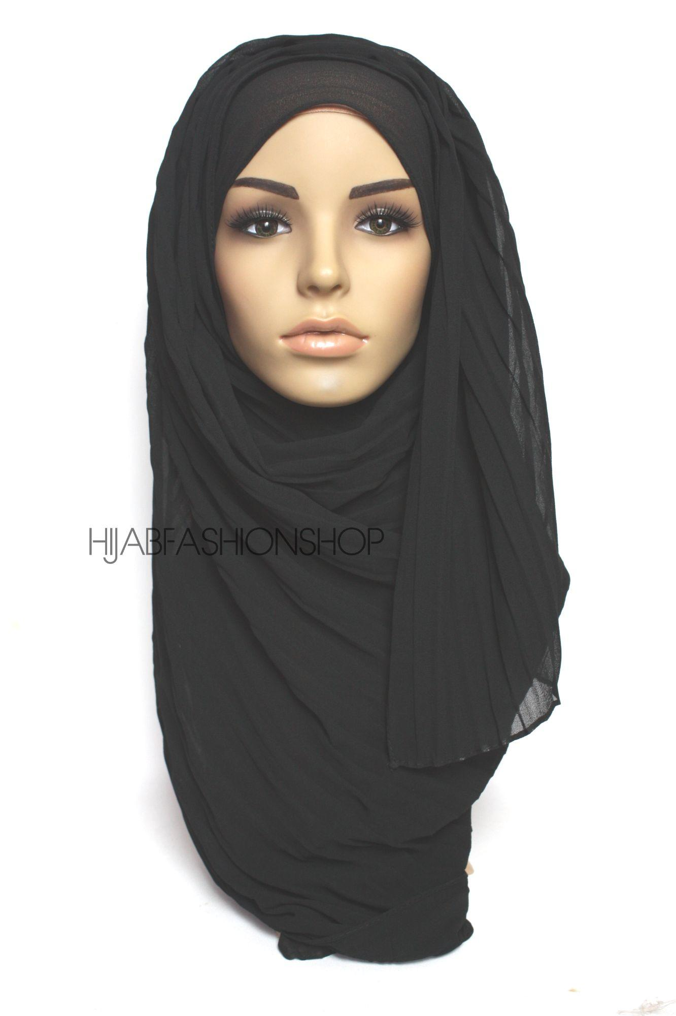 black pleated crimp crinkle hijab