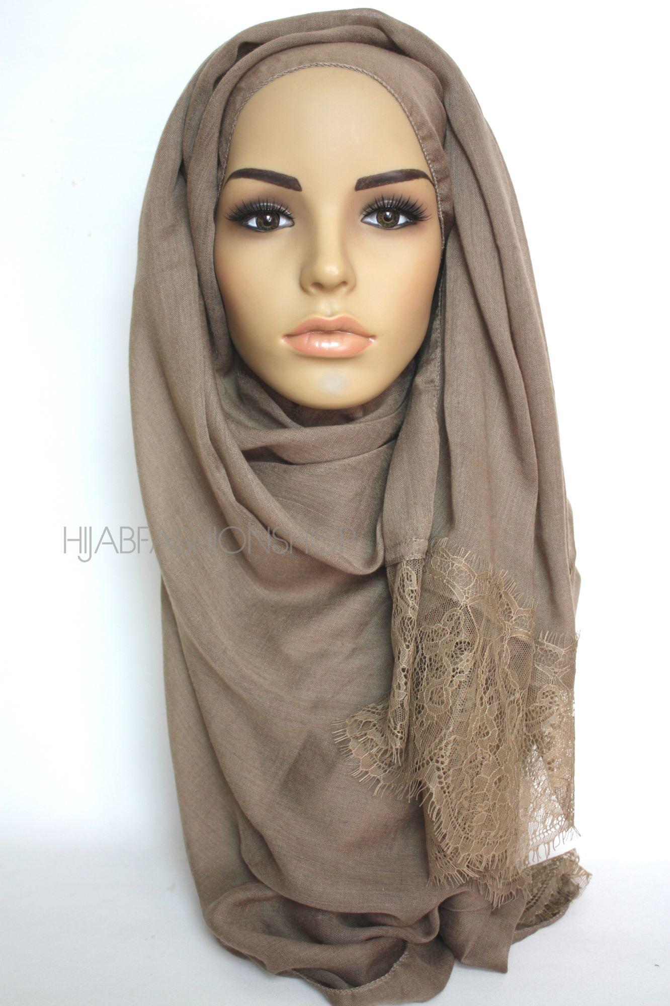 taupe plain hijab with lace edges
