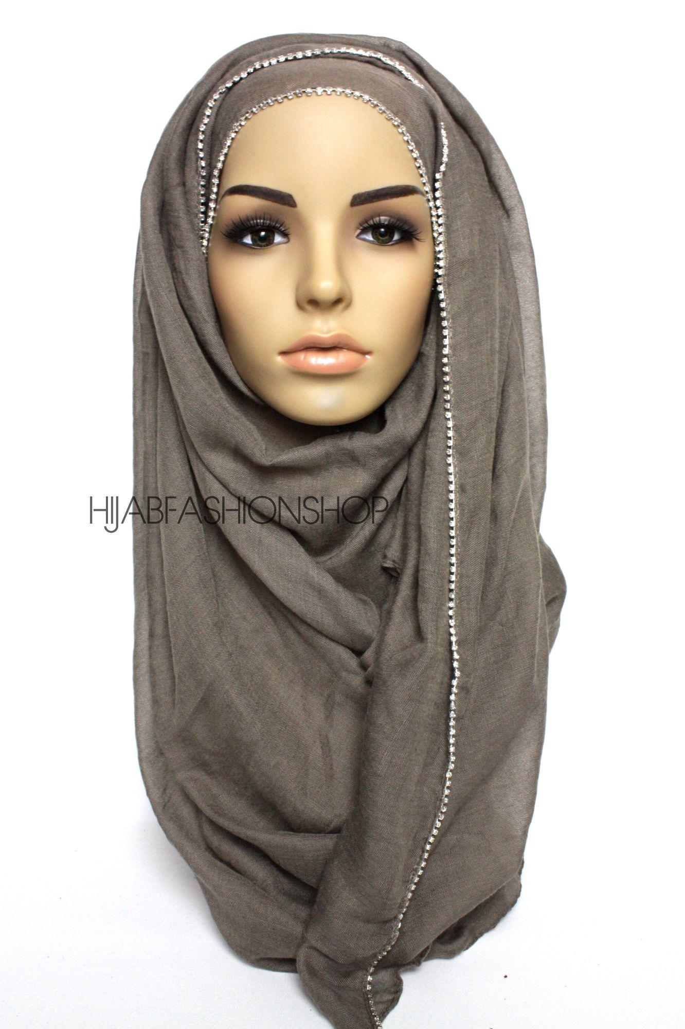 dark taupe plain hijab with clear crystal line on one longer edge