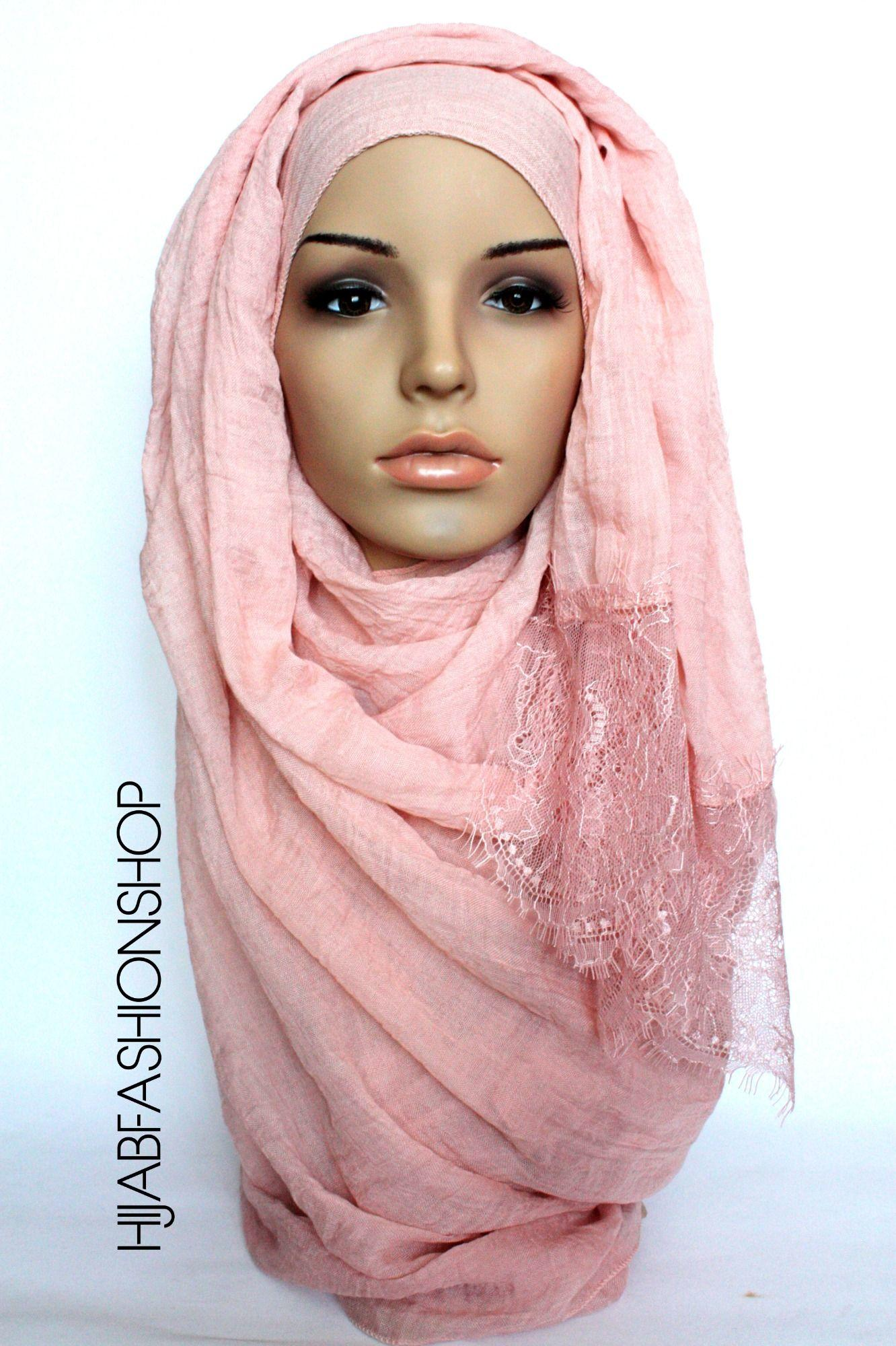 tender pink plain hijab with lace edges