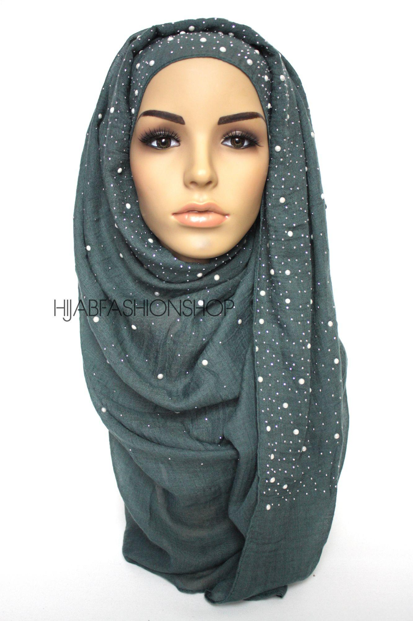 teal hijab with silver studs and pearls