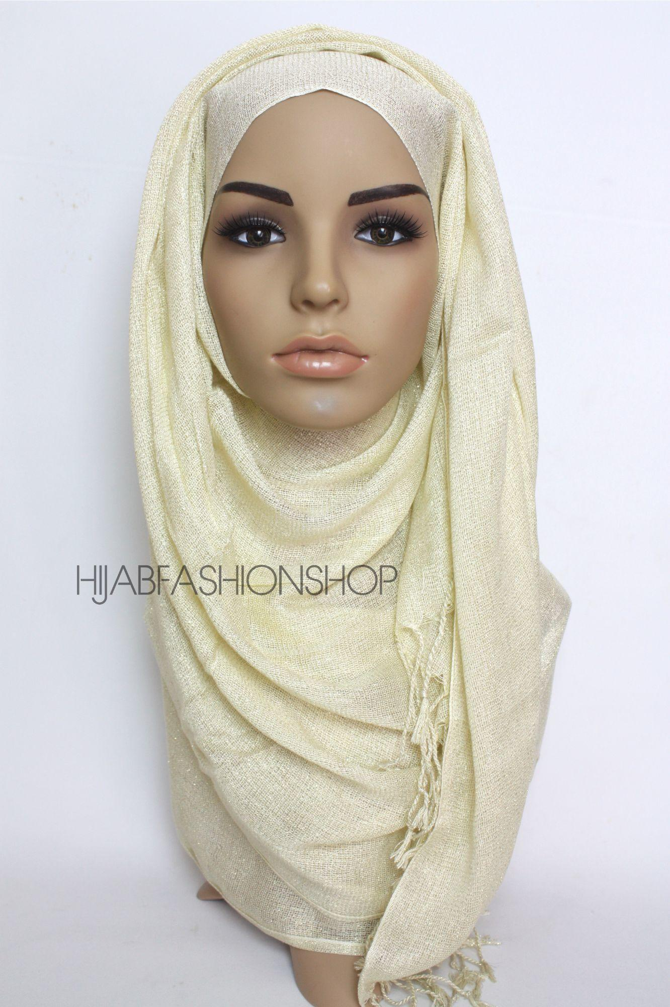 cream shimmer hijab with tassels
