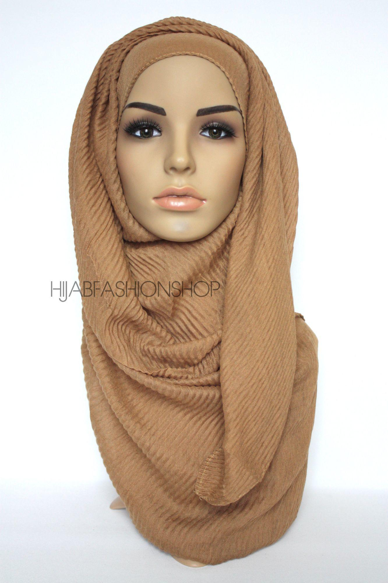 caramel pleated hijab