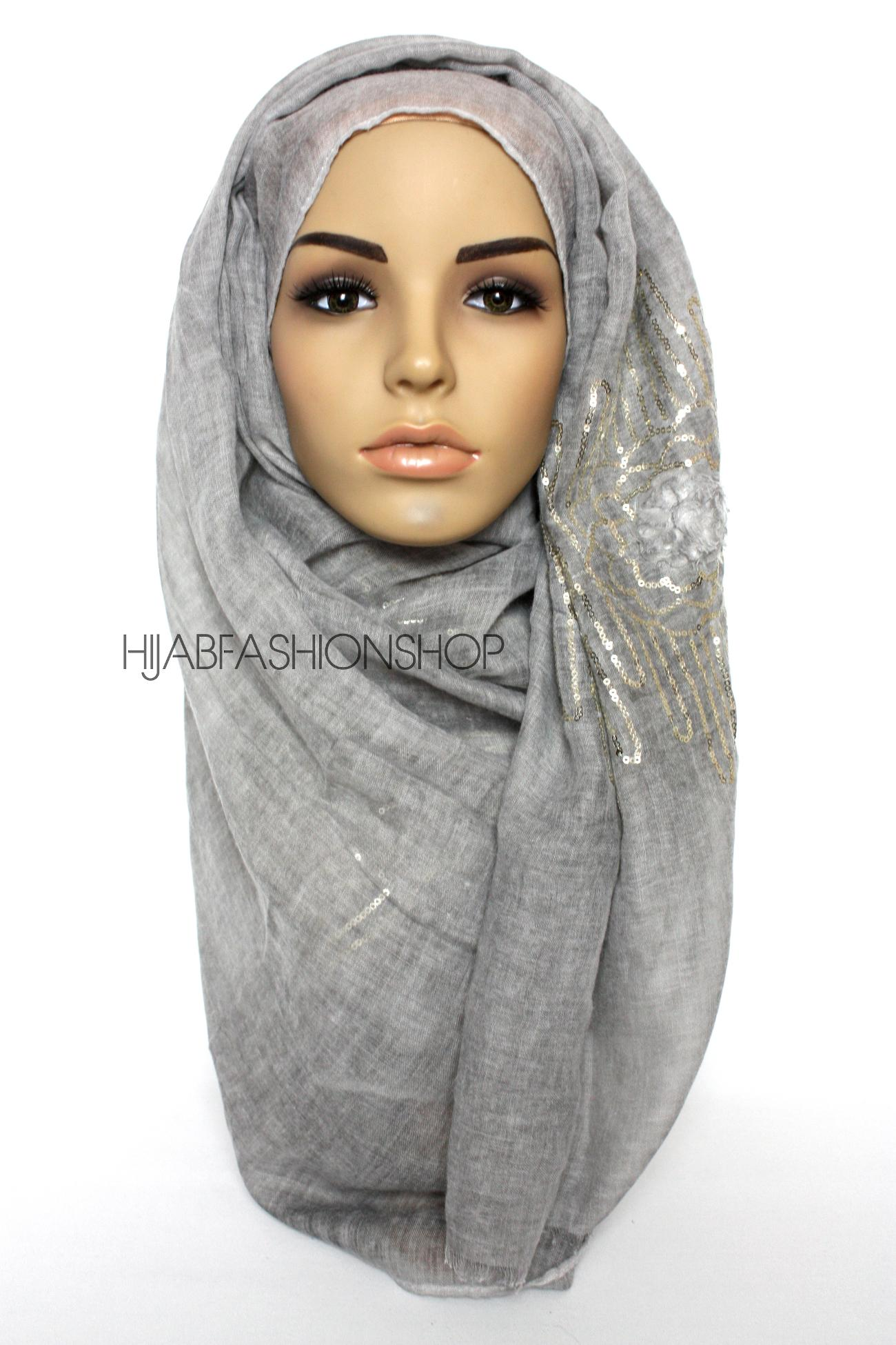 grey linen look hijab with frayed flower detail and gold sequins