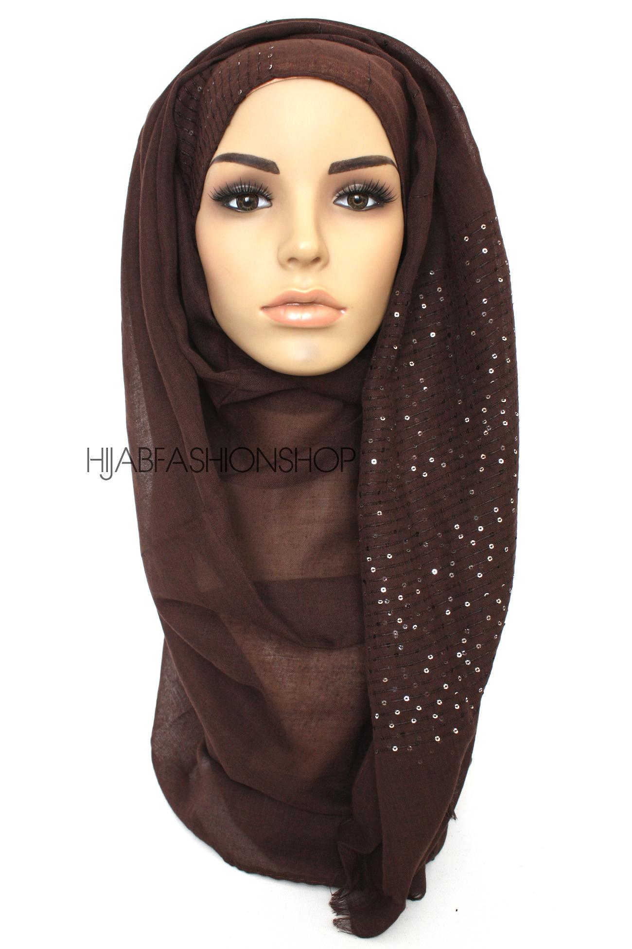 dark chocolate hijab with brown sequins on shorter edges