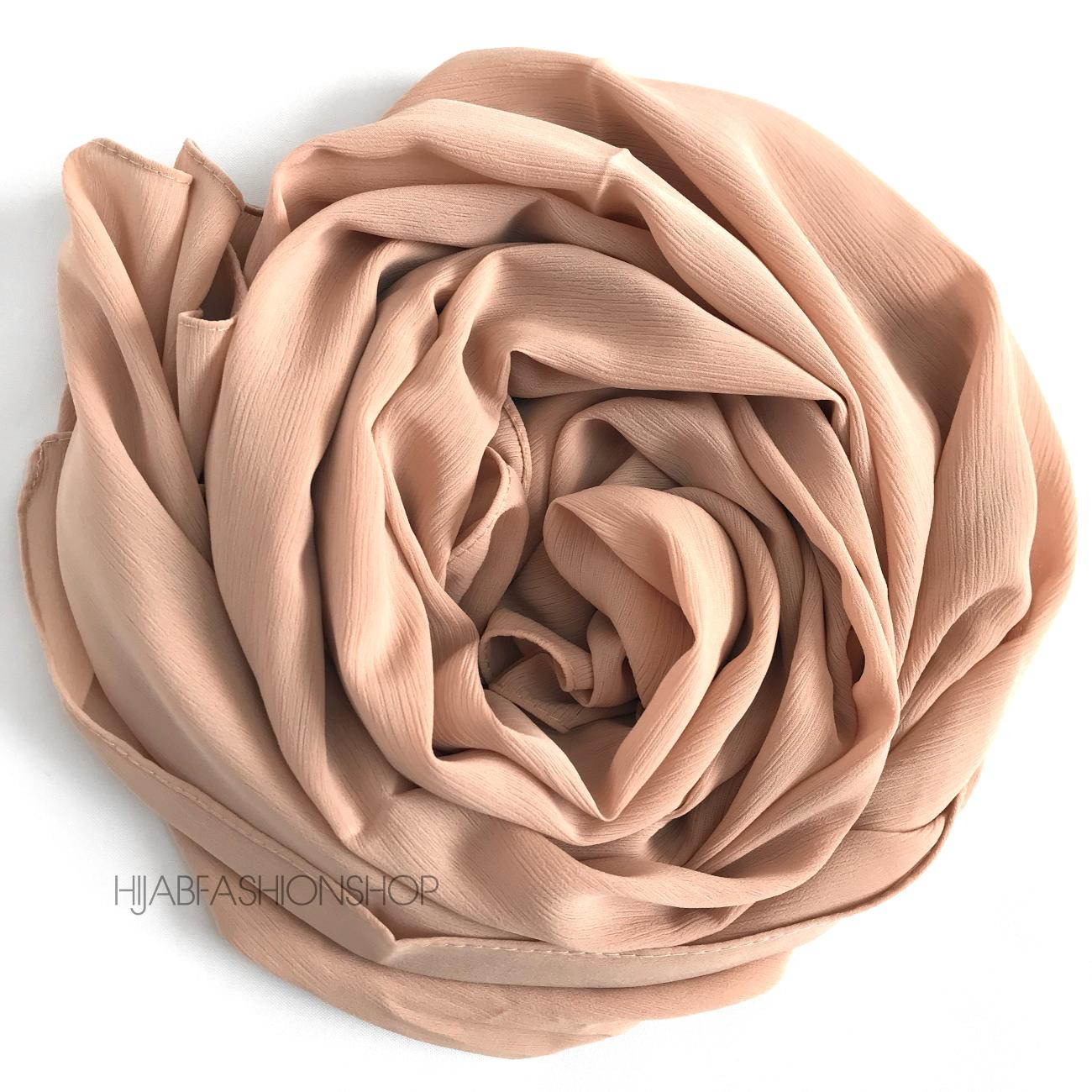 milk tea cream crinkle chiffon hijab