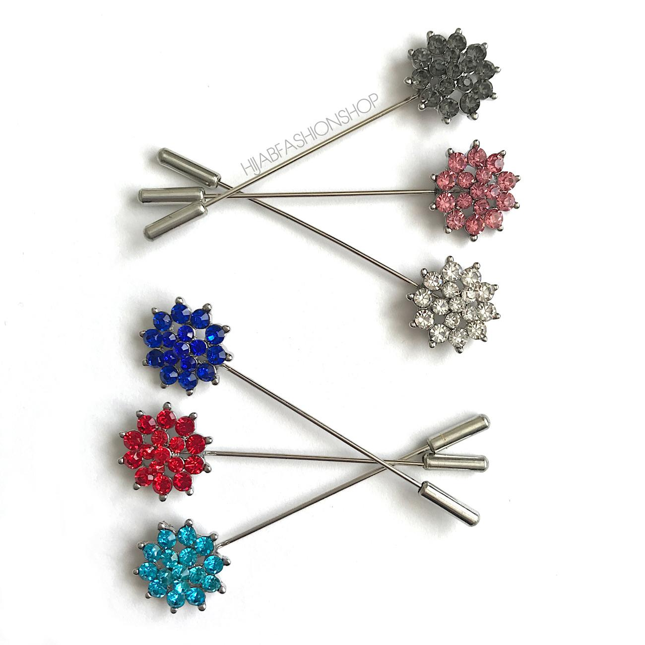 6 hijab stick pins with crystal flower design in variety of colours