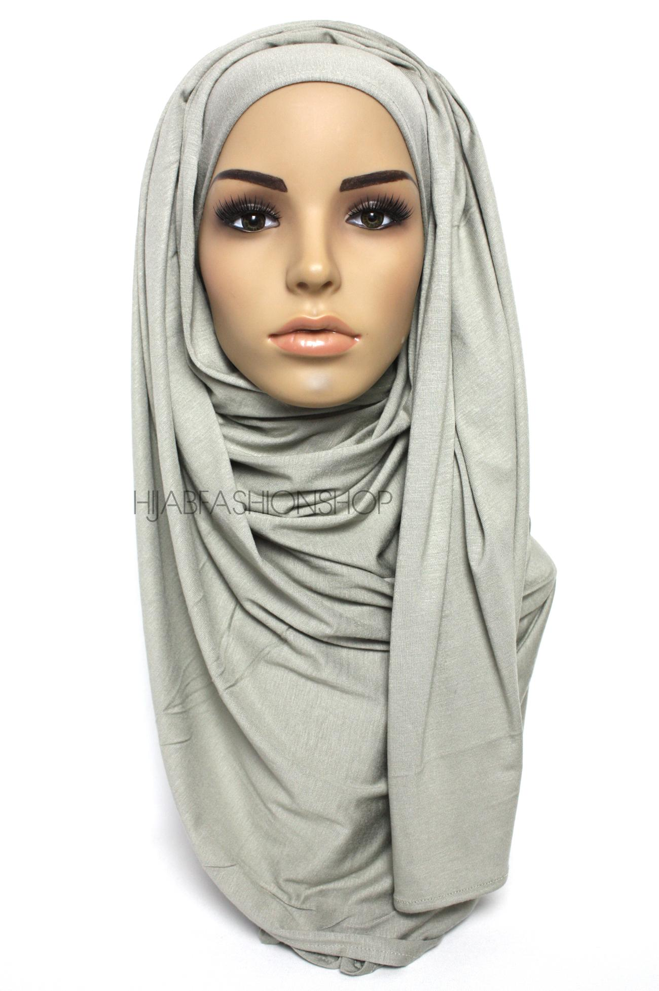 dusty grey plain jersey hijab
