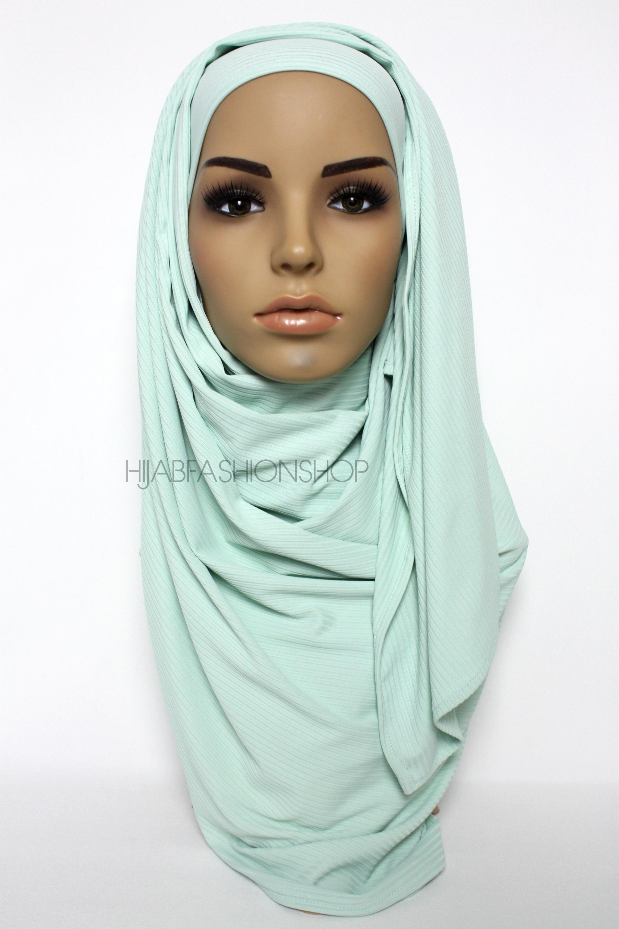 mint ribbed jersey hijab