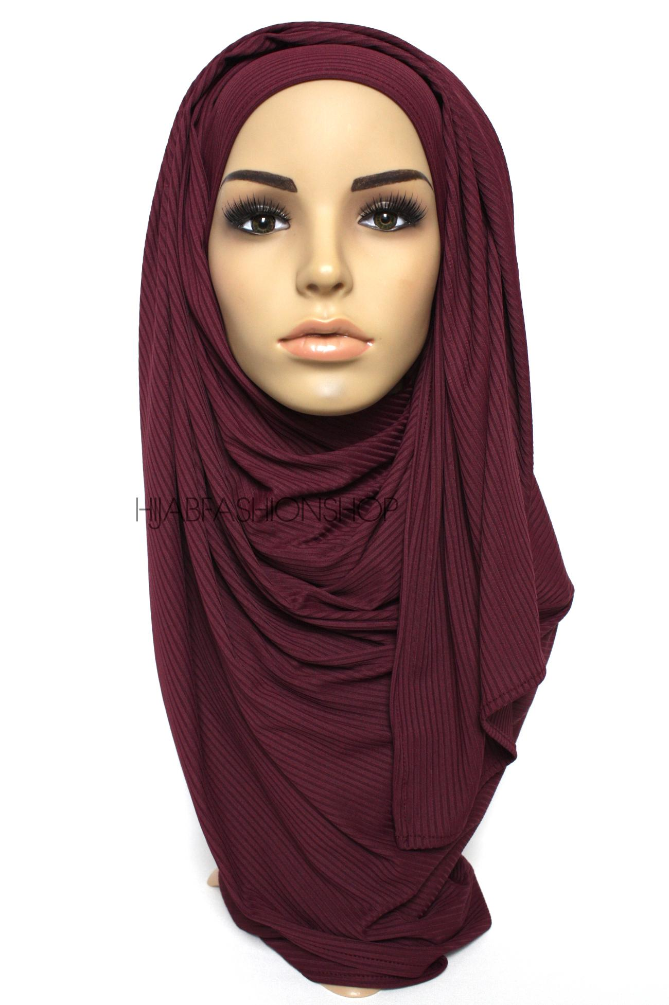 mulberry ribbed jersey hijab