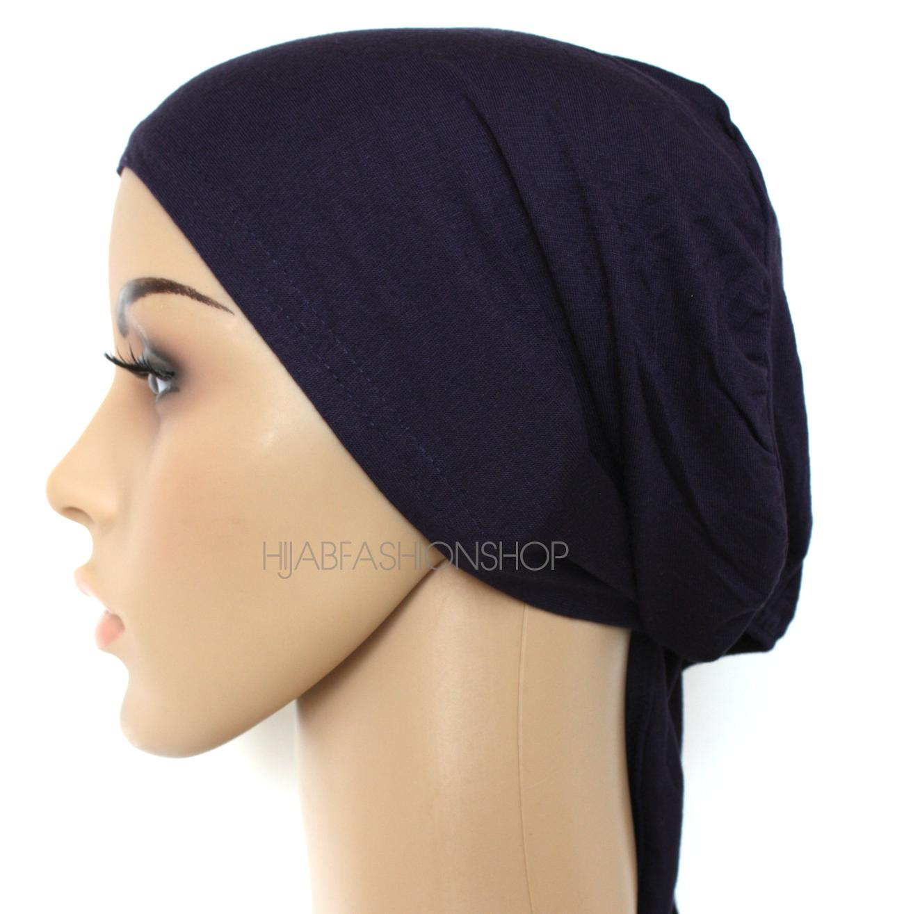navy string bonnet